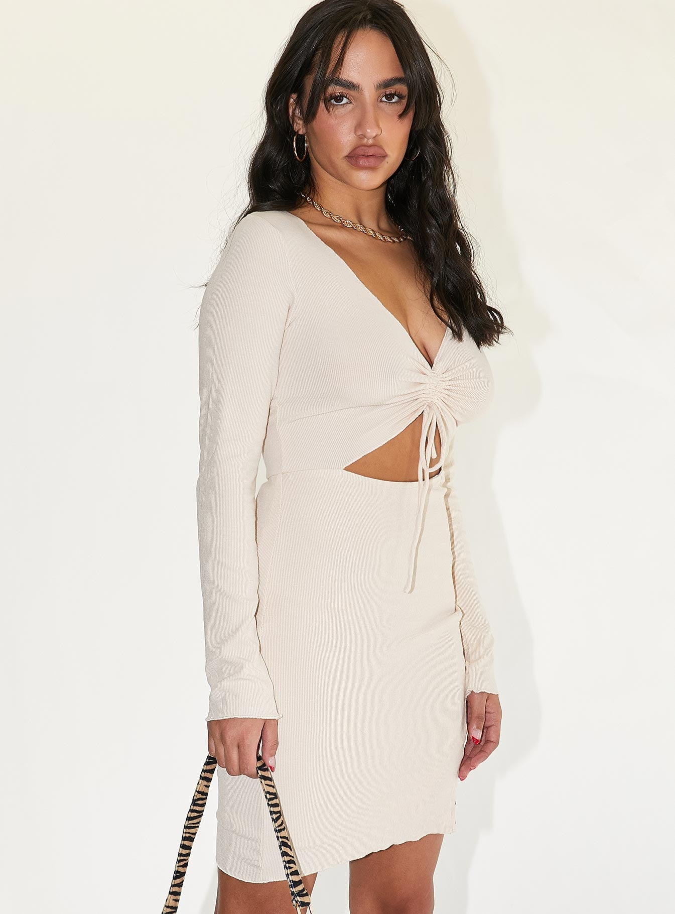 Pinch Me Mini Dress Beige