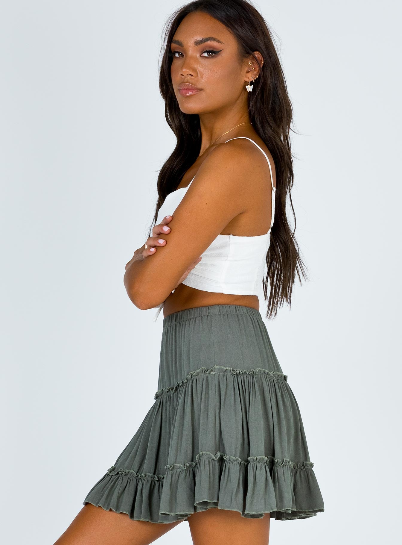 Marlowe Mini Skirt Khaki