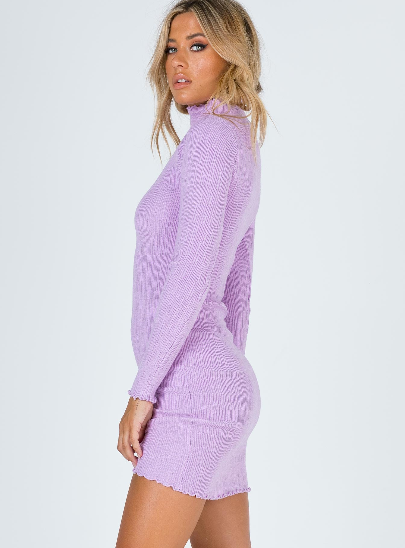 Verve Knit Mini Dress Lilac