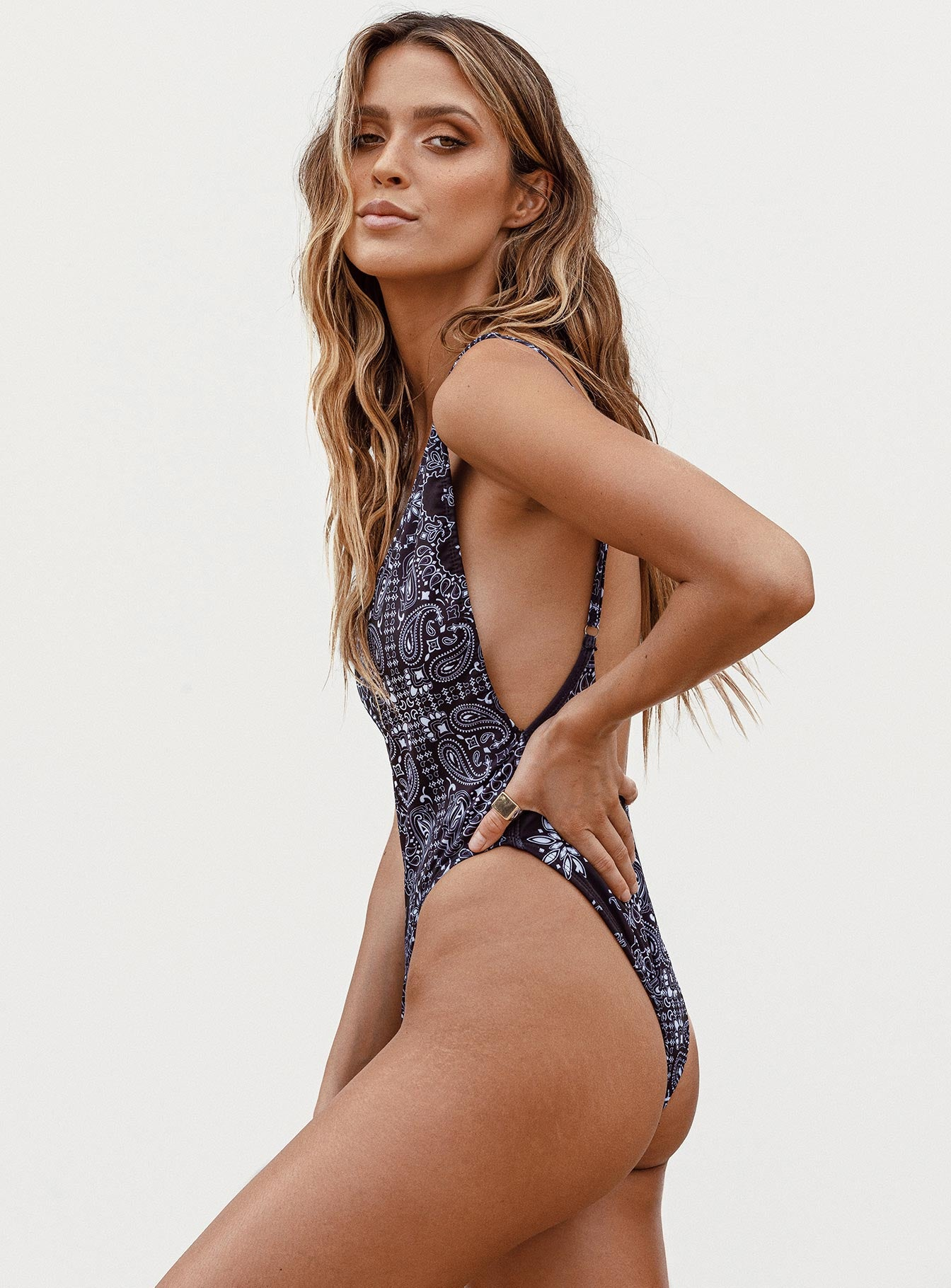 Bo Derek One Piece Black Paisley