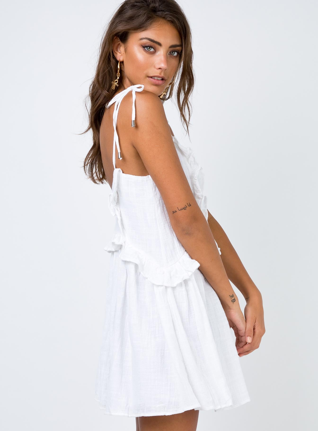 The Avery Ruffle Mini Dress White