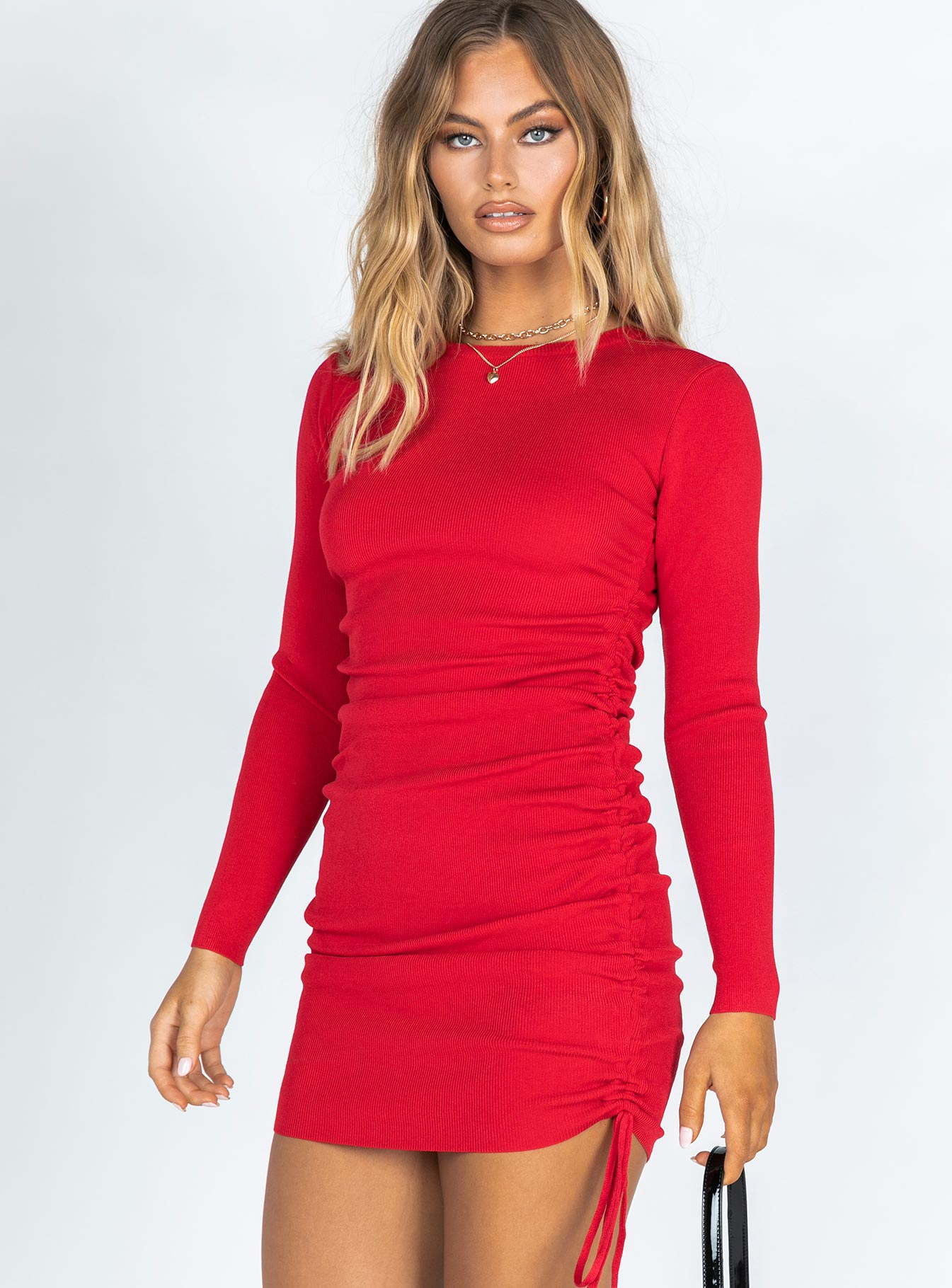 Military Minds Long Sleeve Mini Dress Red