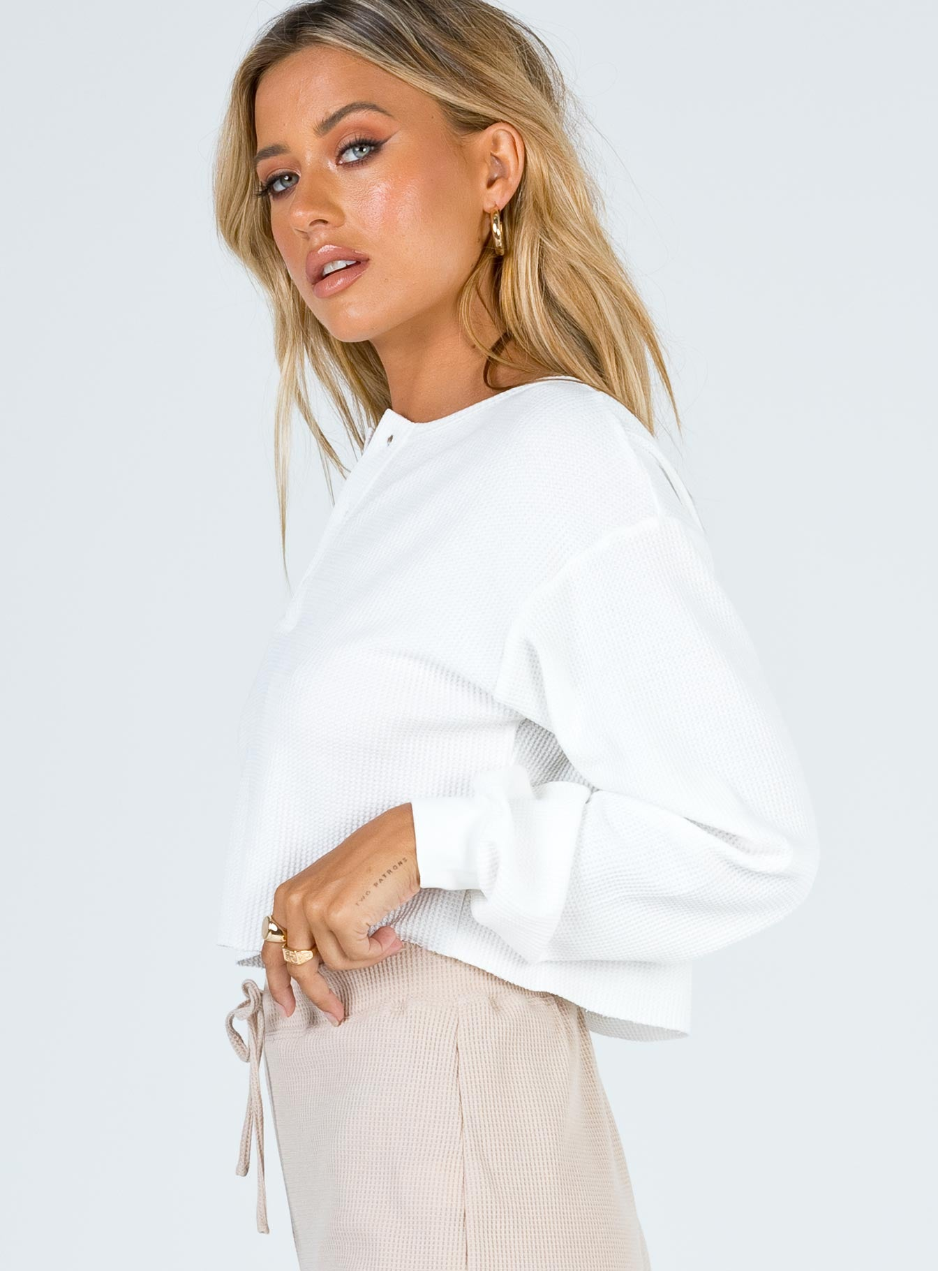 Mia Cropped Henley Sweatshirt White