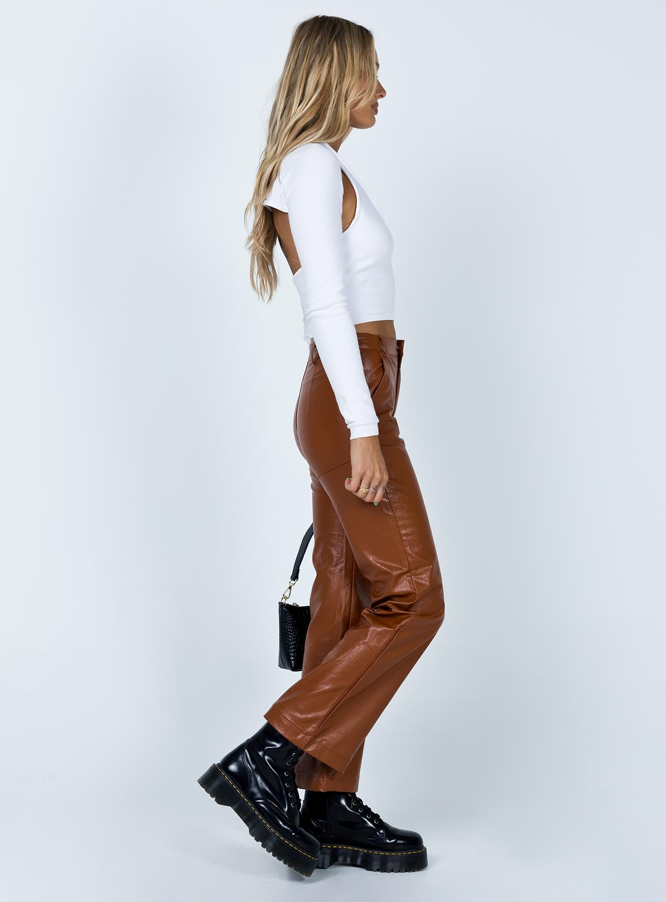 Ashlea PU Pants Brown