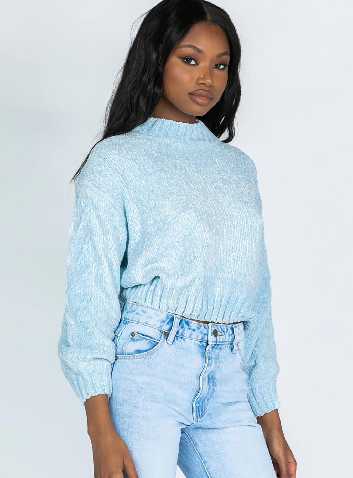 Rainy Nights Mock Neck Sweater Blue