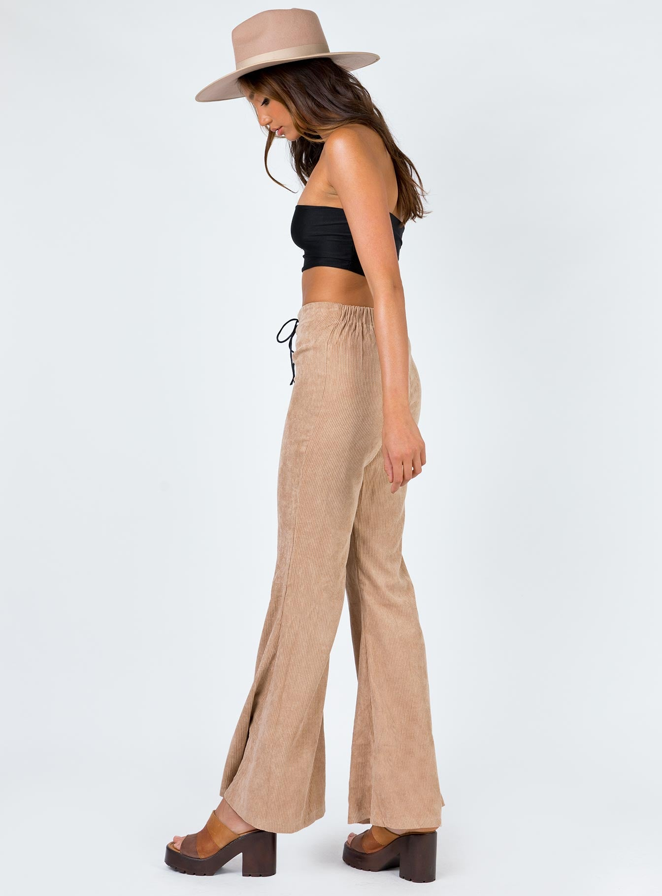 Lucile Lace Up Flares Brown