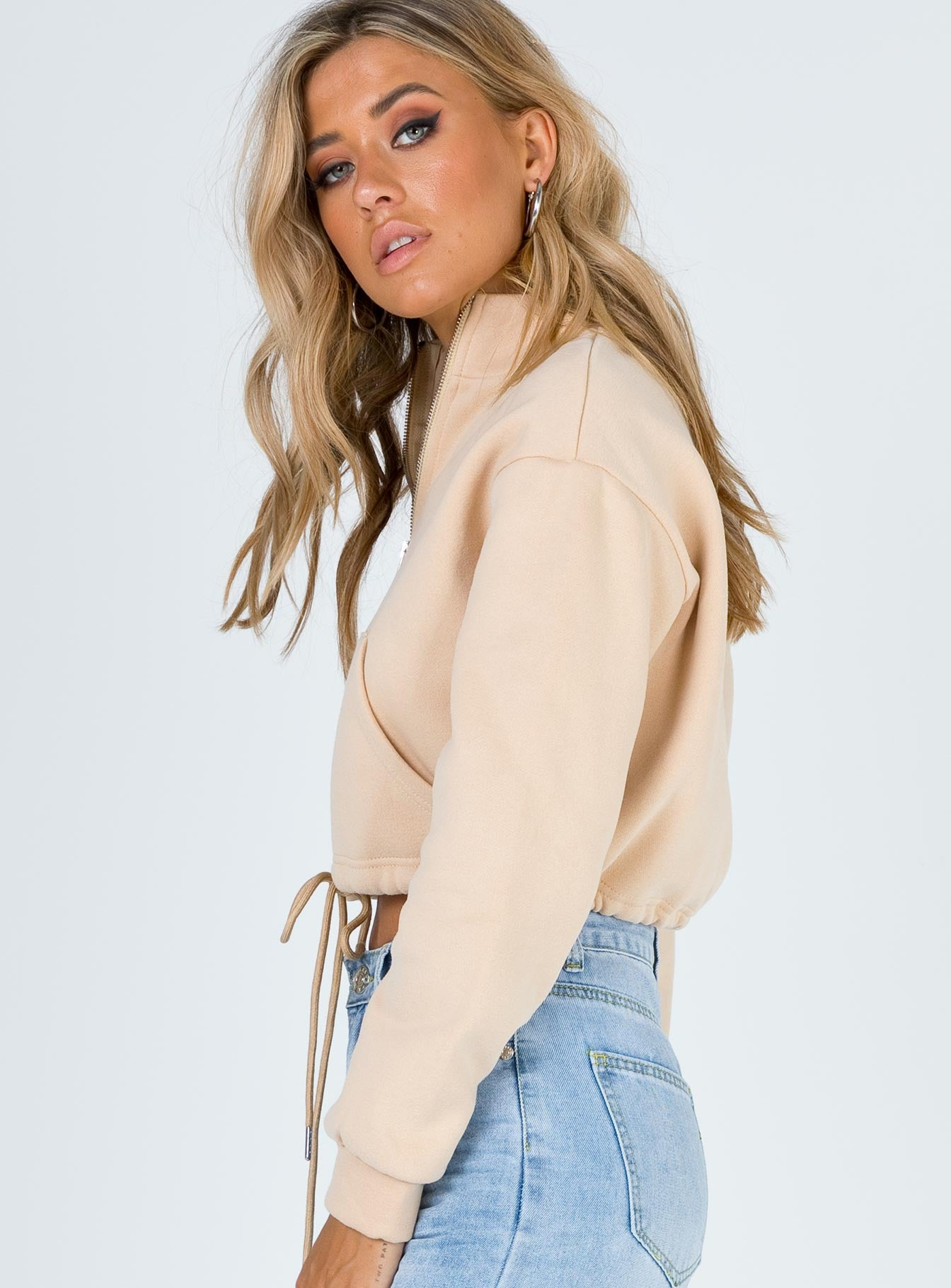 Amber Cropped Quarter Zip Sweatshirt Beige