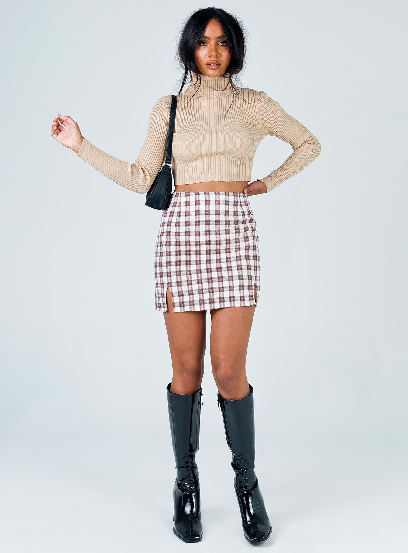 Motel Zila Mini Skirt Checkmate Brown