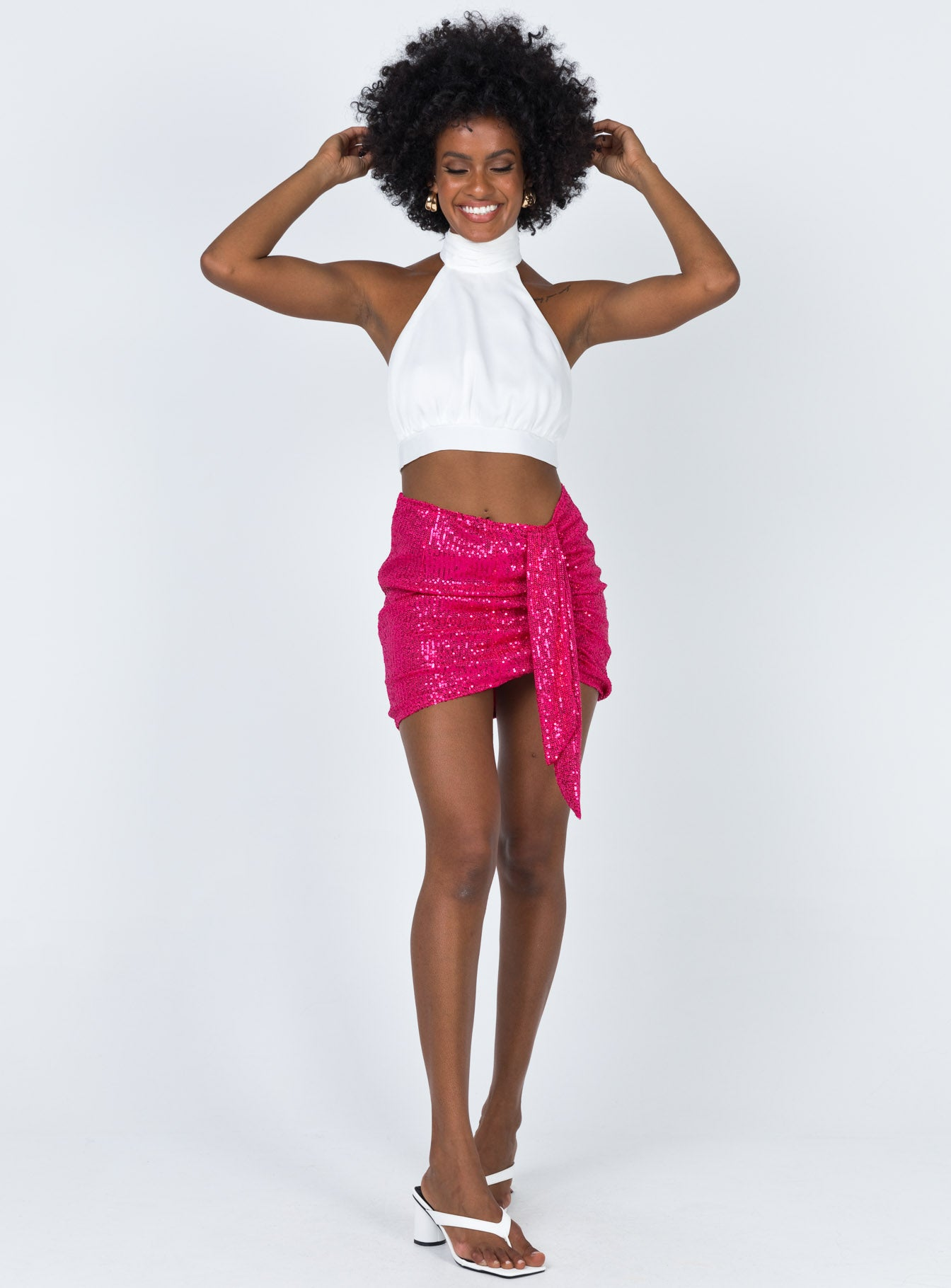Diamonds In The Sky Sequin Mini Skirt Pink