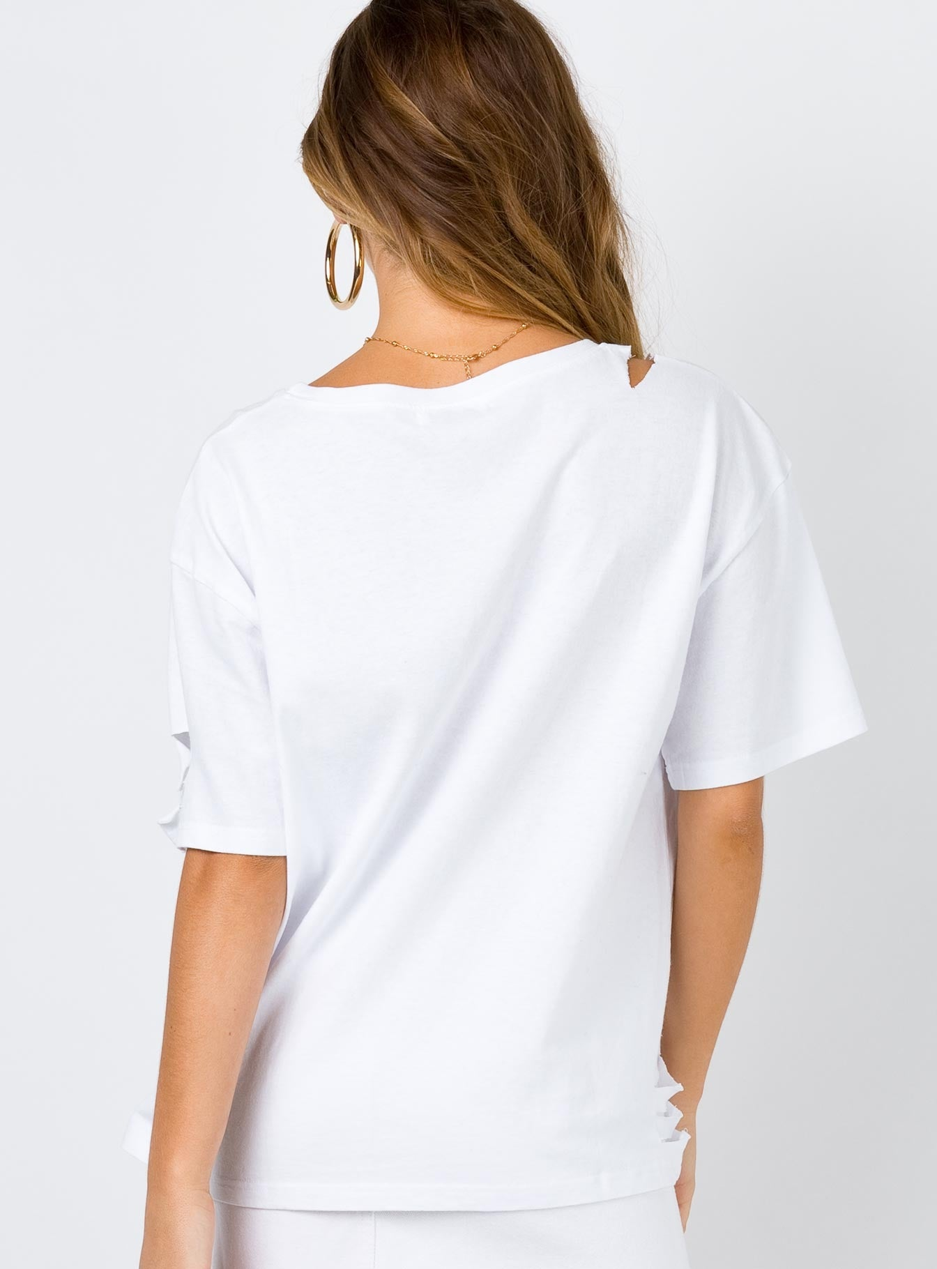 The End Distressed Tee White