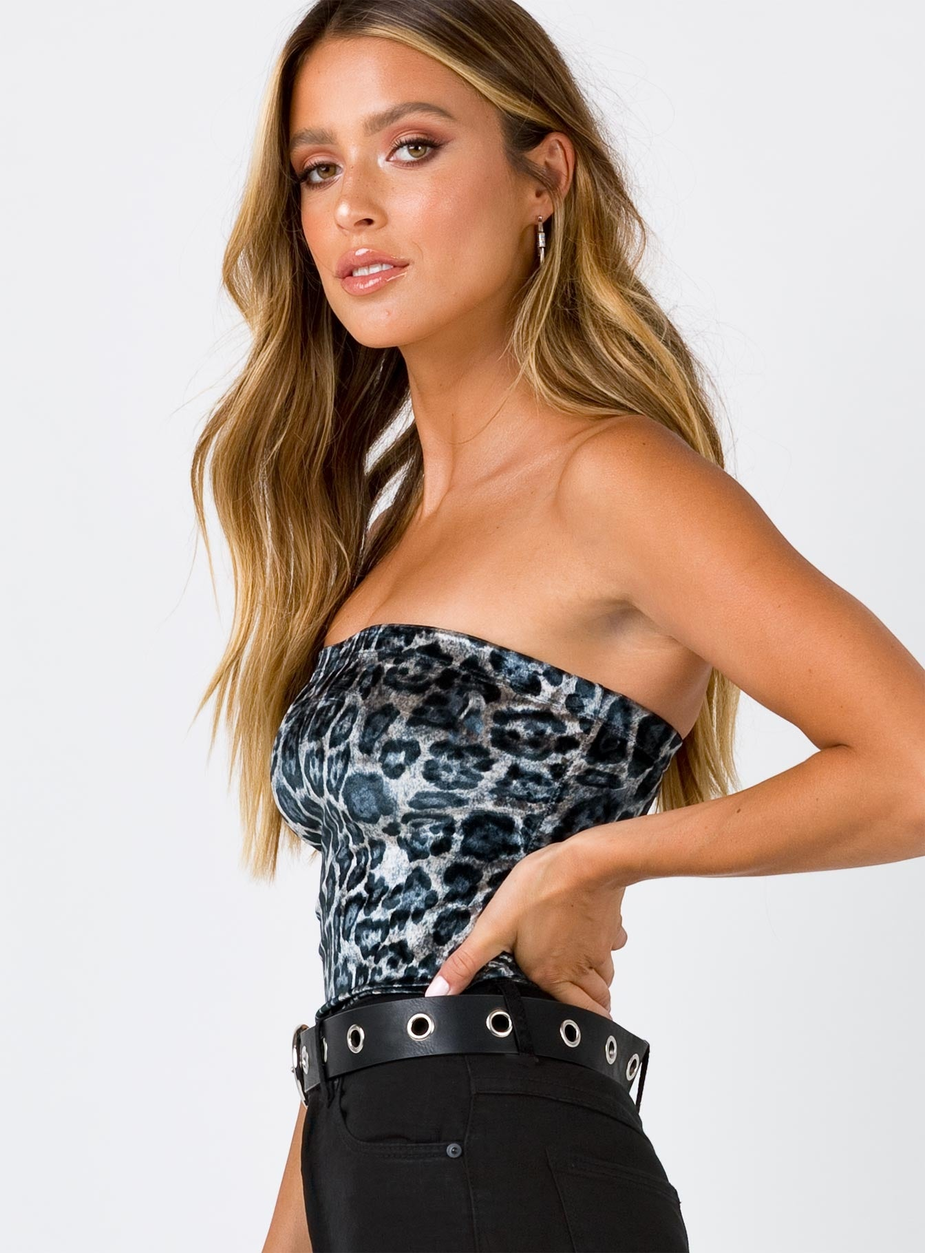 Western Way Bodysuit Blue Leopard