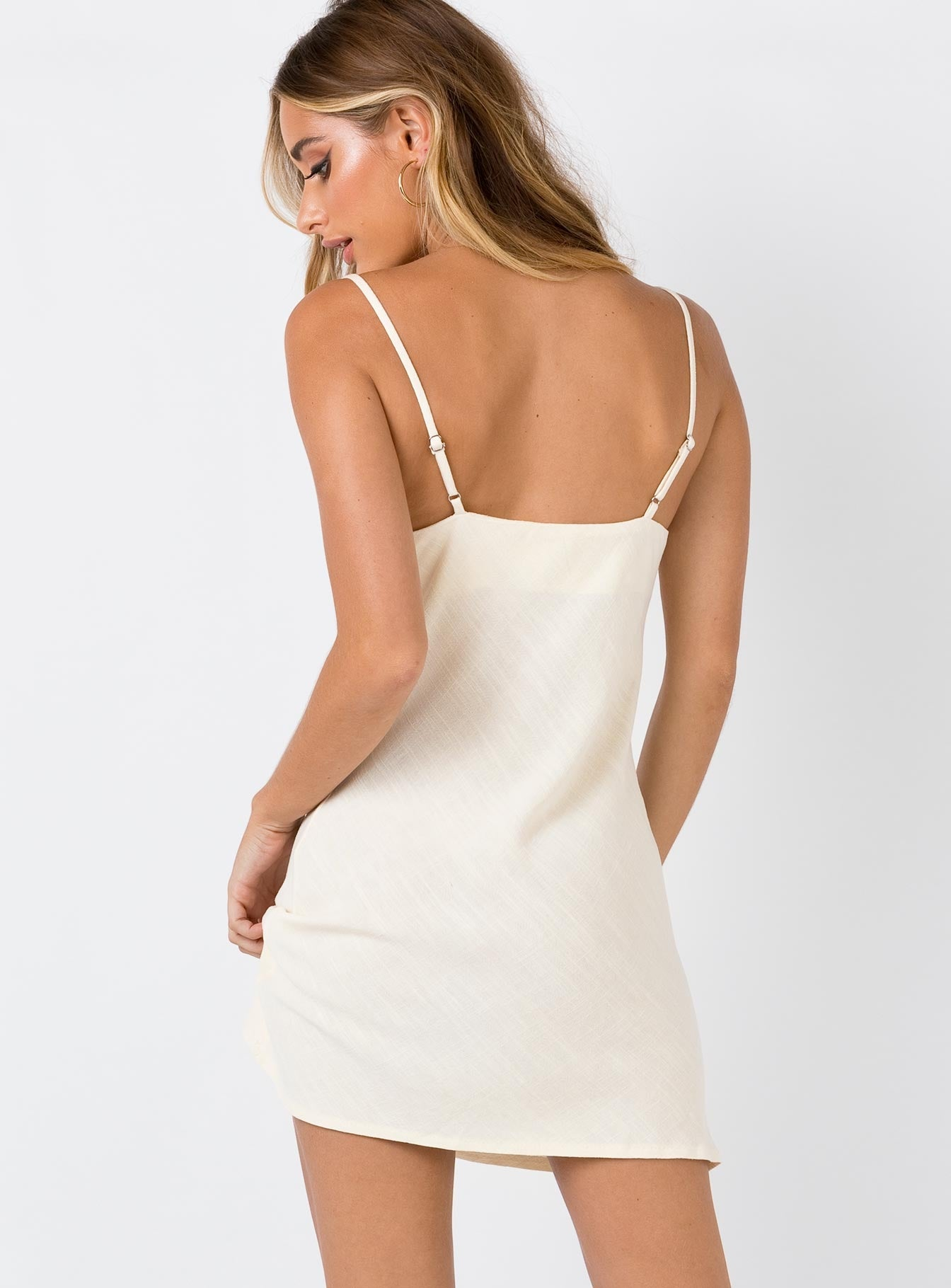 Ocean Alley Linen Blend Mini Dress Cream