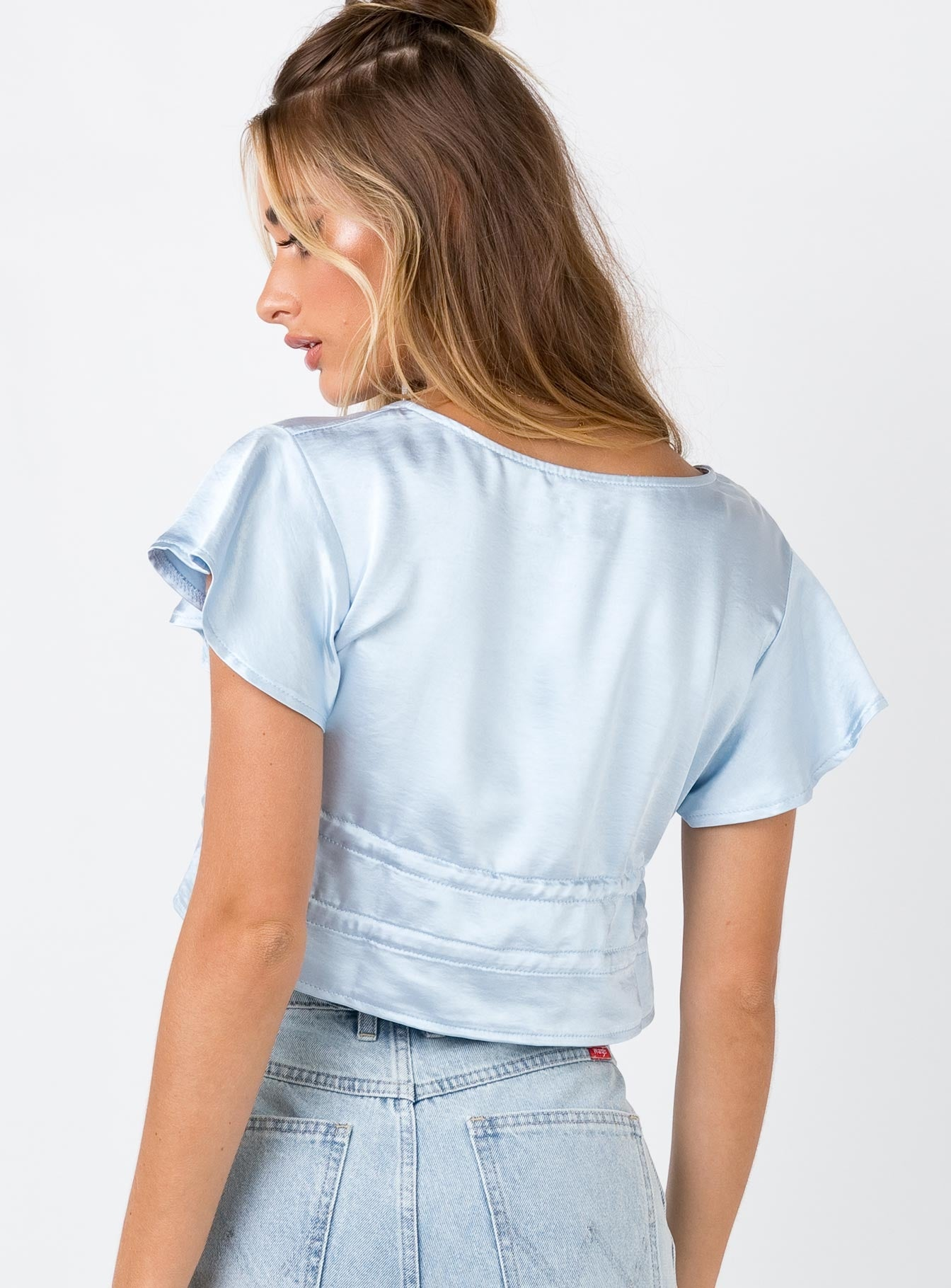 Tasmon Silky Crop Top Blue