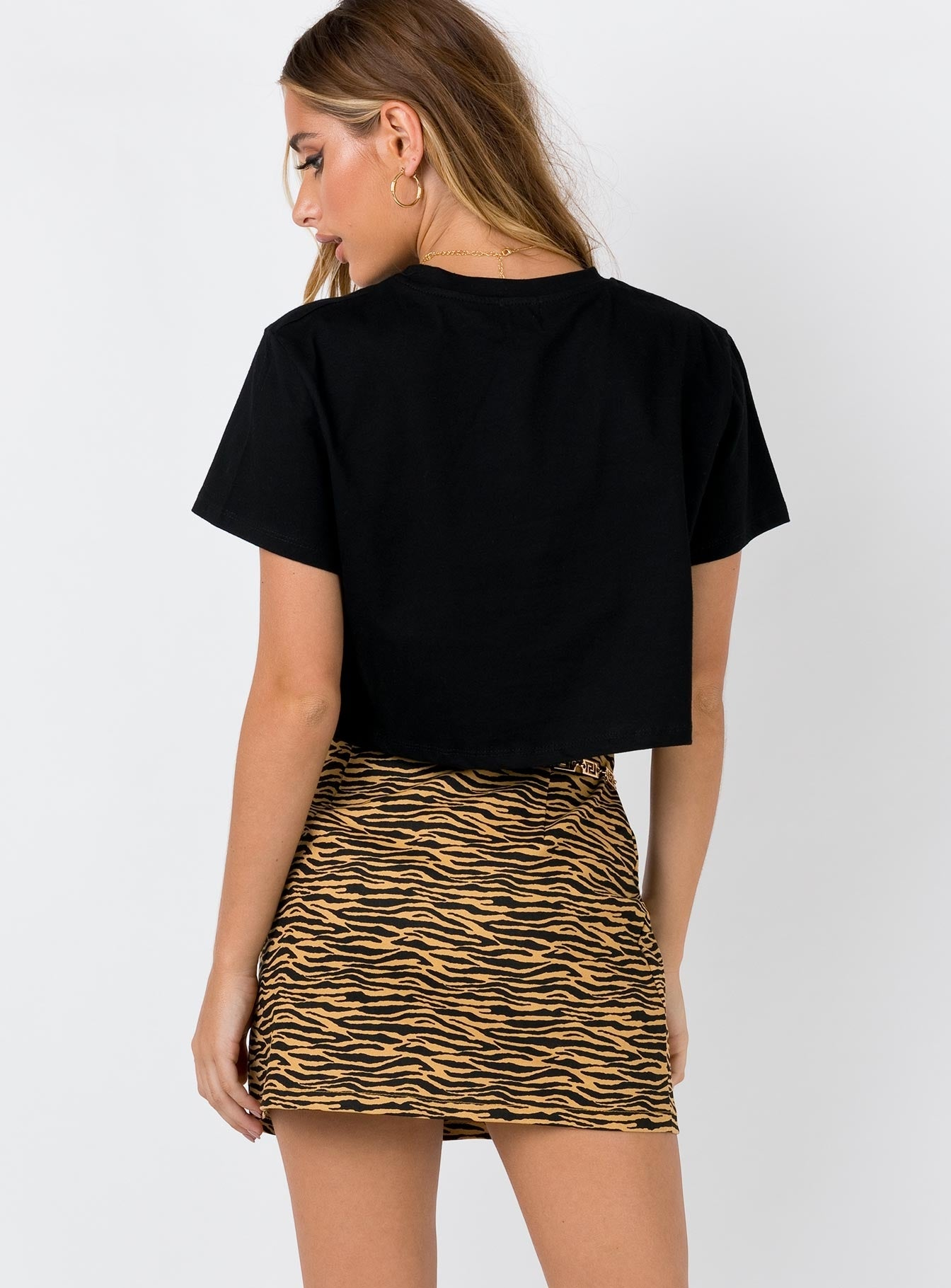 Rajah Denim Mini Skirt Tiger Print