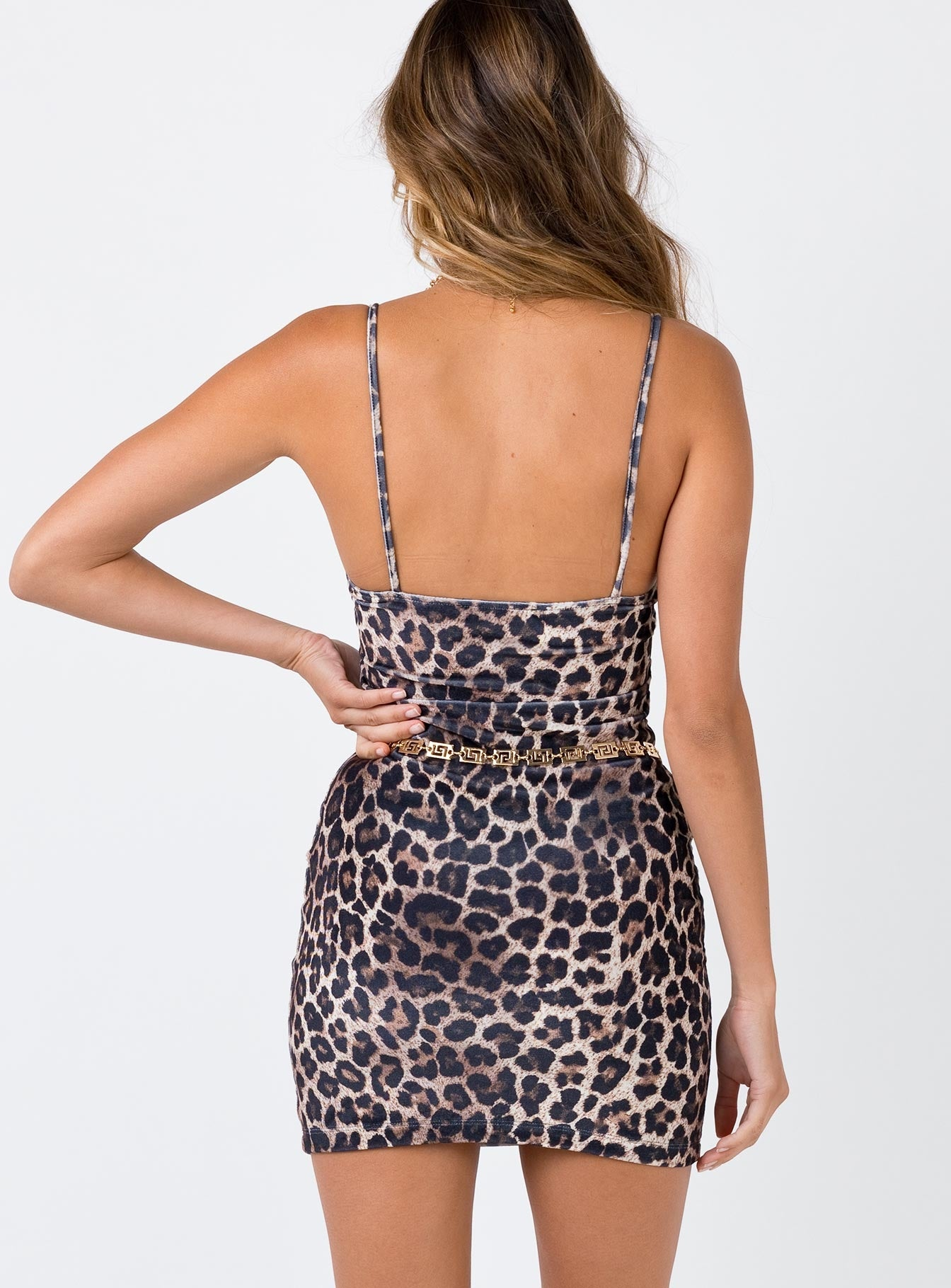 Motel Sekina Dress Leopard Velvet