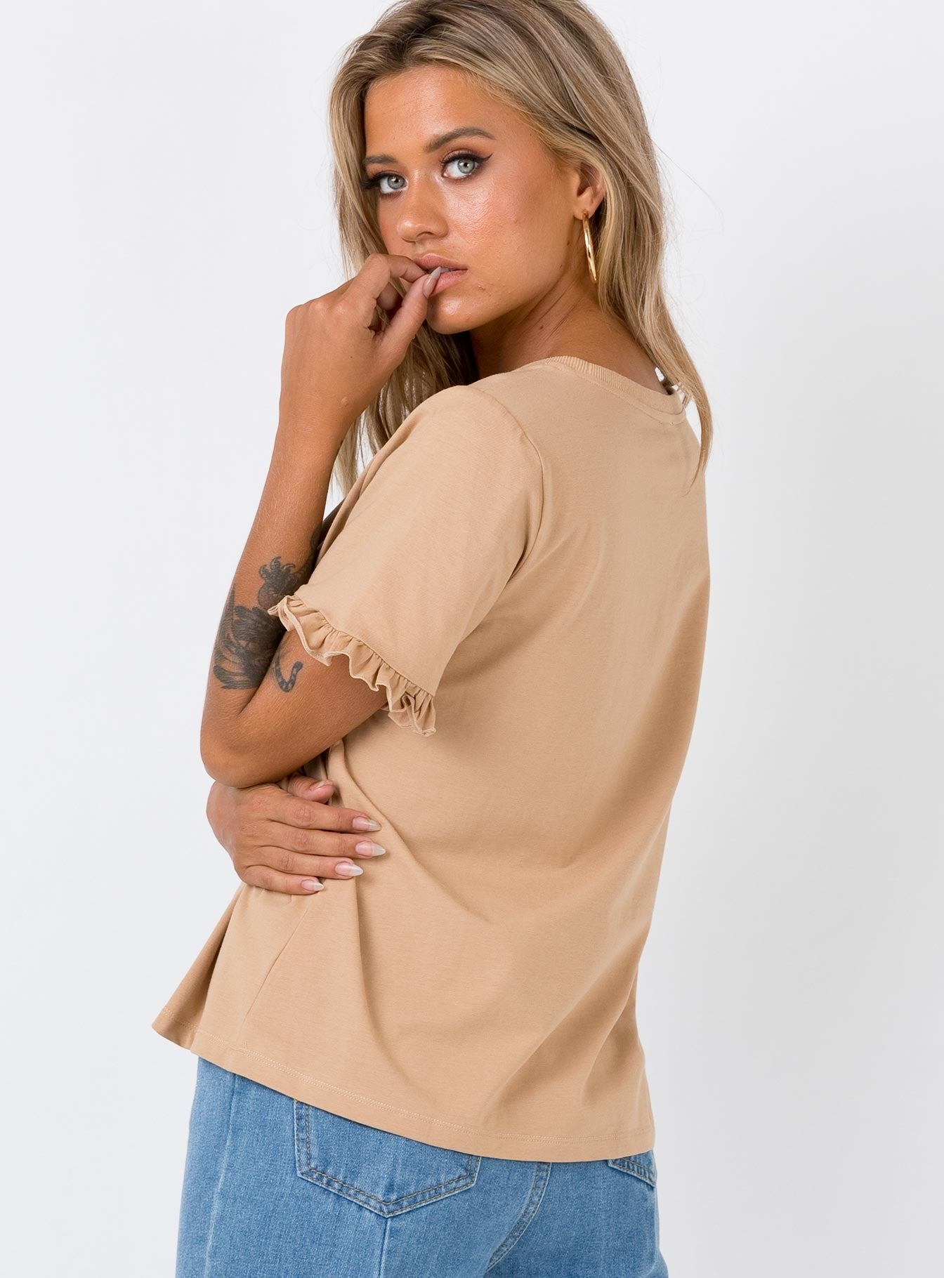 Roxy Ruffle Top Beige