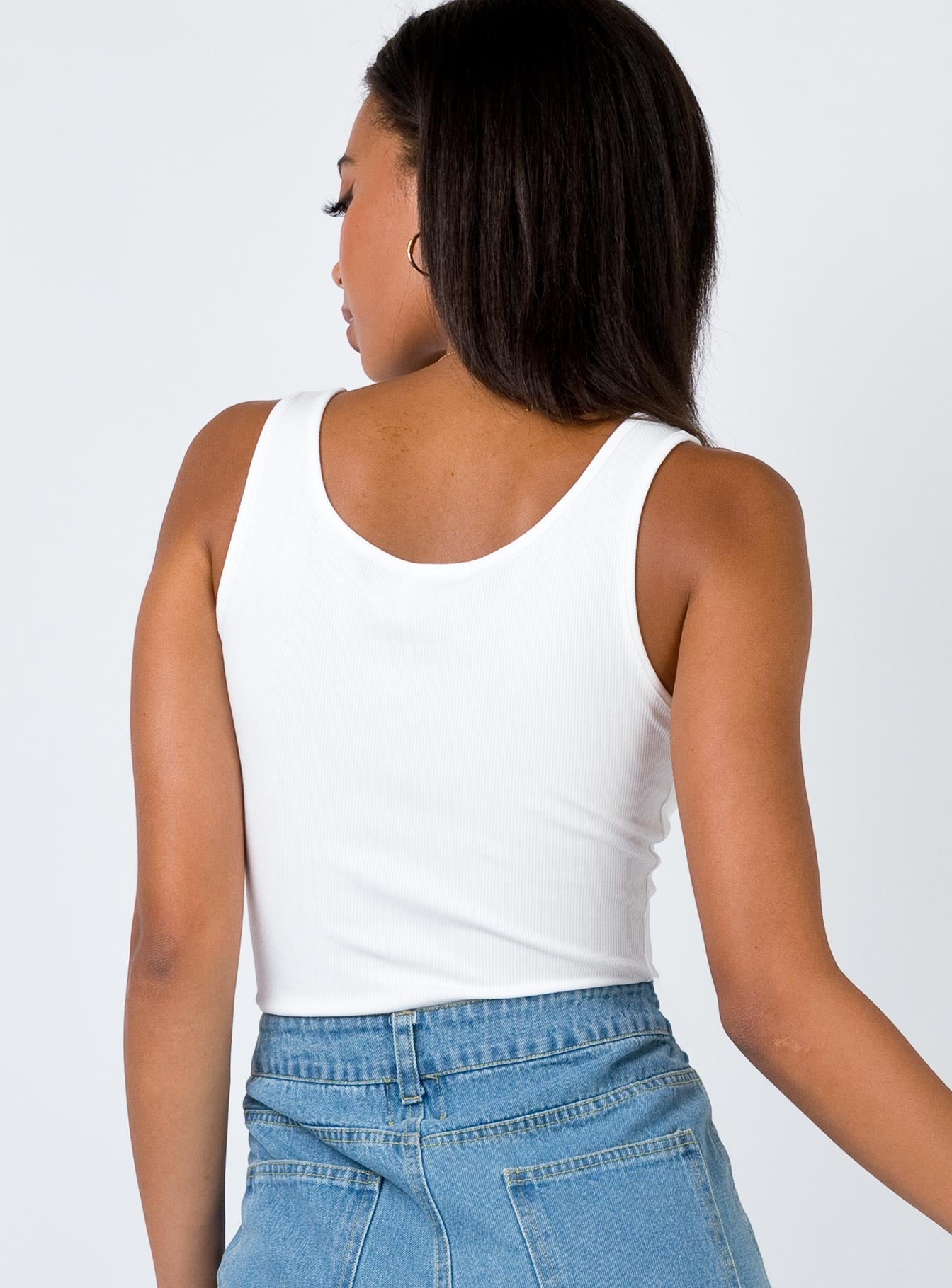 Mended Tank Top White