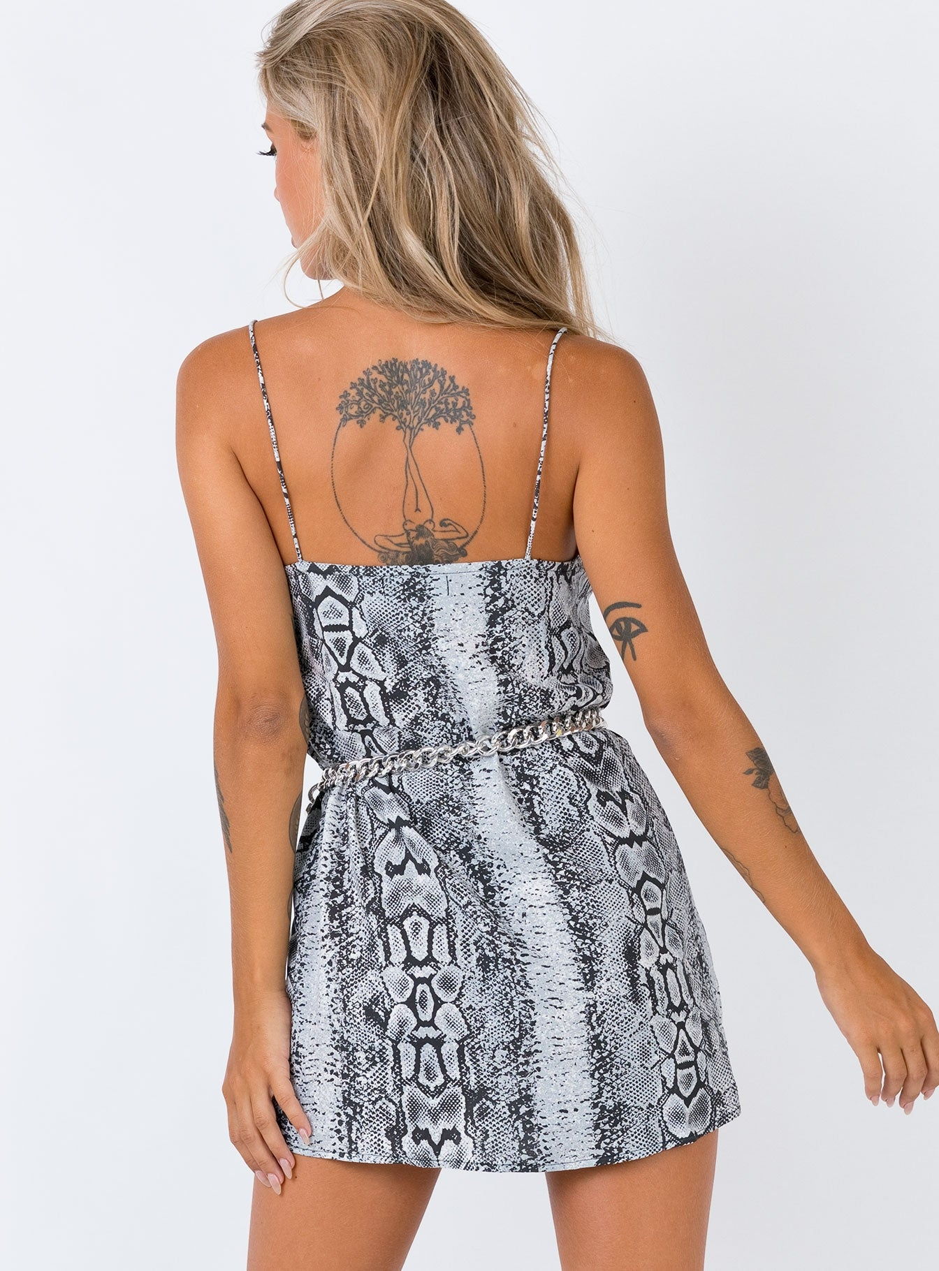 Motel Datista Dress Snake Snakeskin