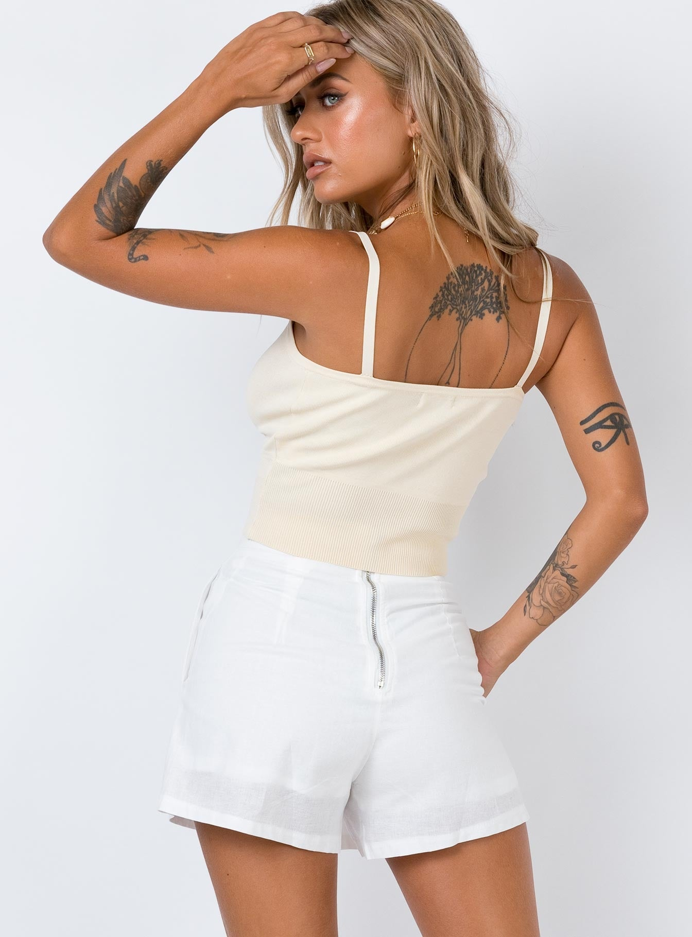 King Of Animals High Waisted Shorts White