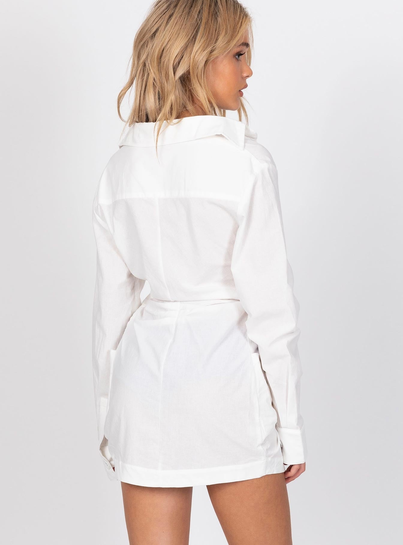 Hey You Shirt Dress White