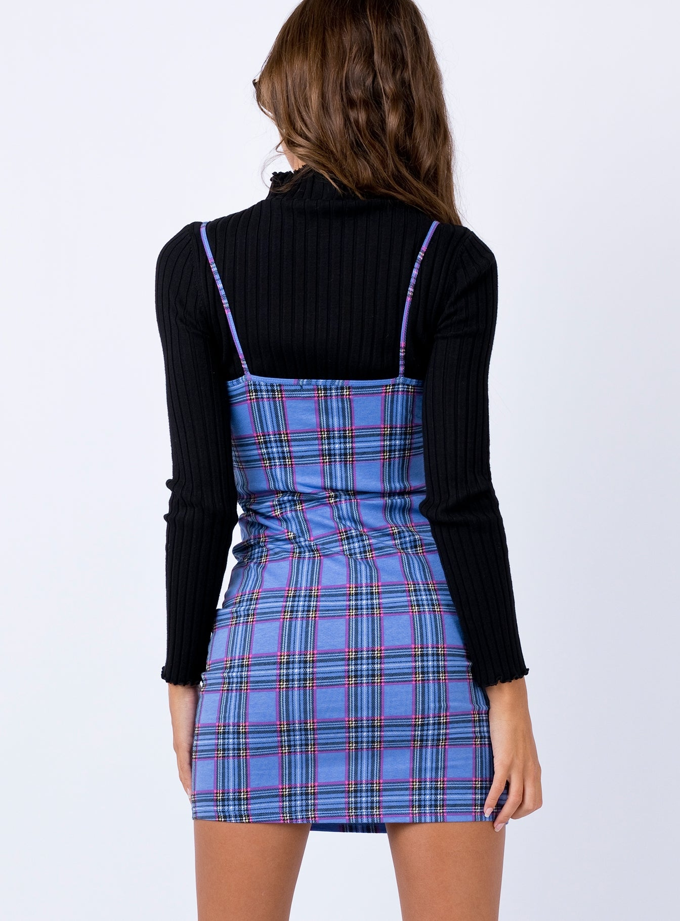 Motel Piper Dress 90's Check Blue Pink