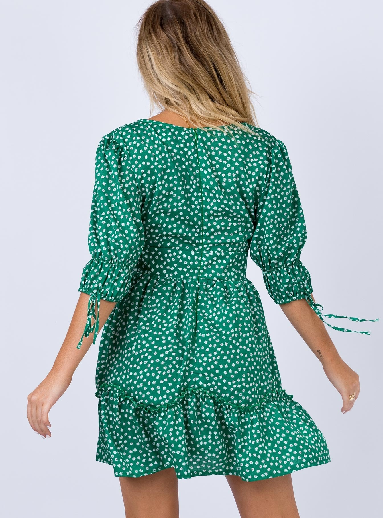 Rippling Mini Dress Green
