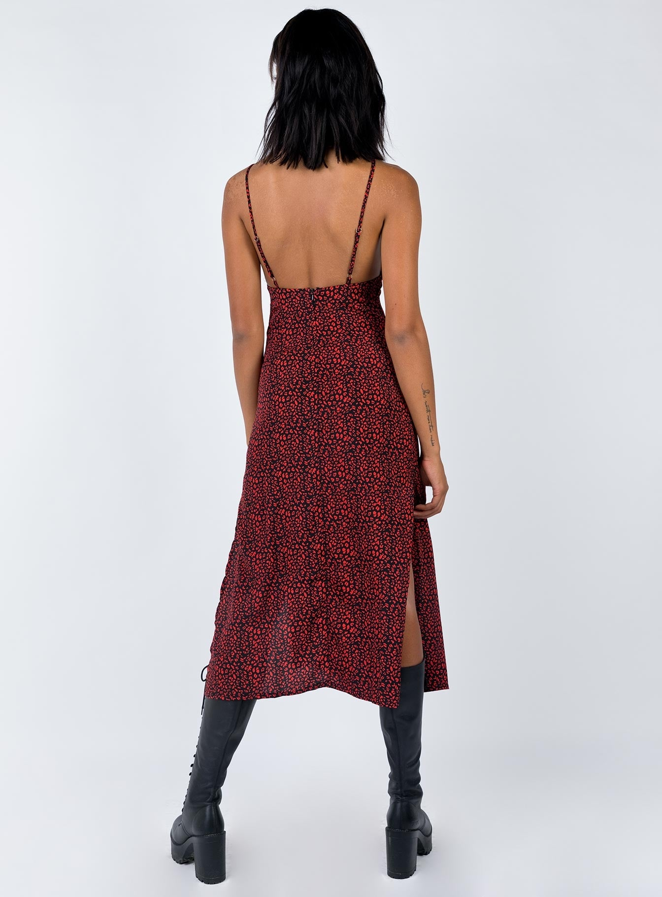 The Clement Maxi Dress Red Leopard Red/Black