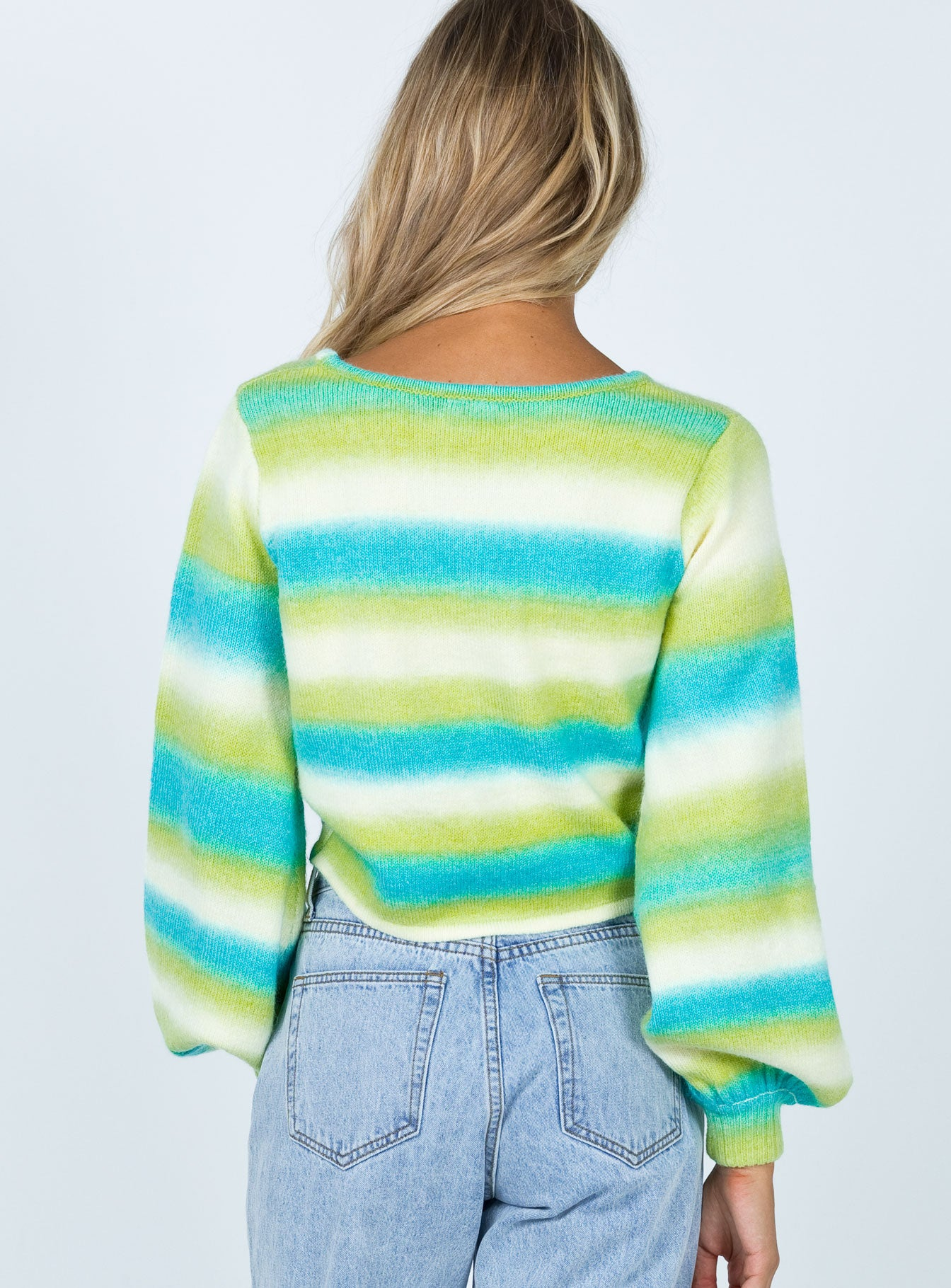 Alexandra Ruched Sweater Green Multi