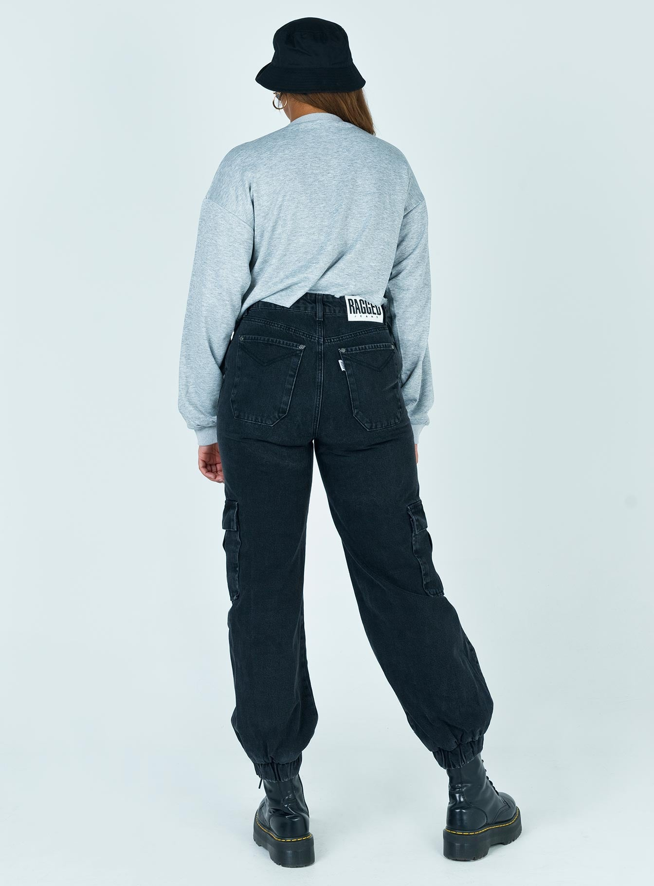 The Ragged Priest Charcoal Cuffed Combat Jeans