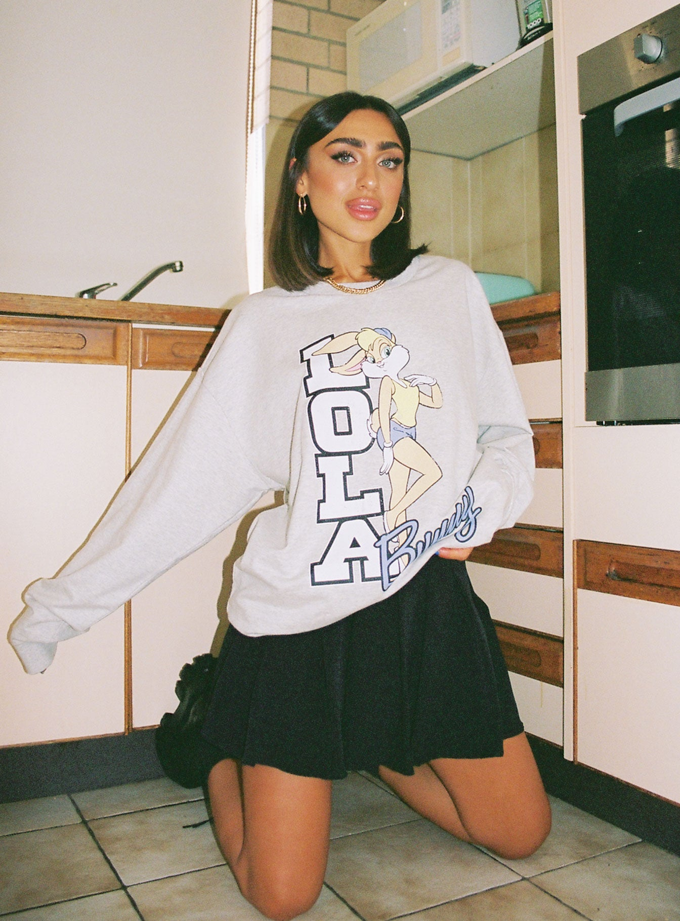 Looney Tunes Lola Oversized Crewneck Sweatshirt Grey