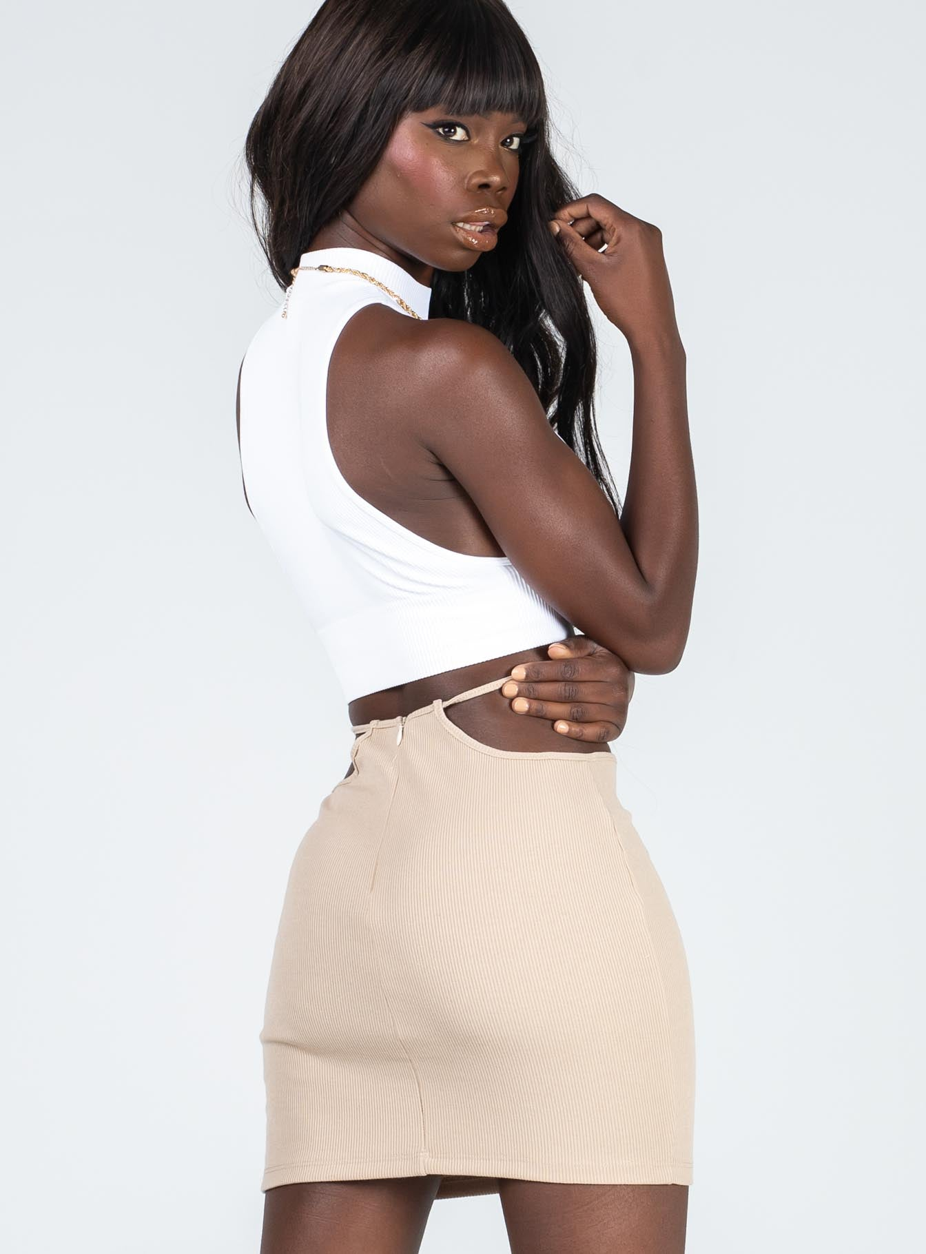 Addie Mini Skirt Beige