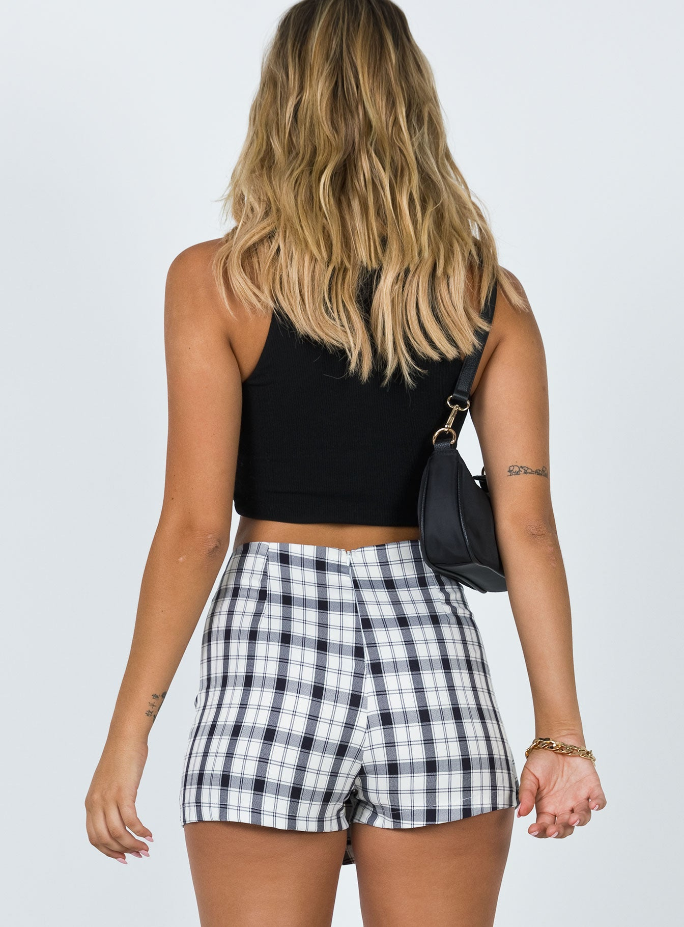Breanna Check Shorts Black / White