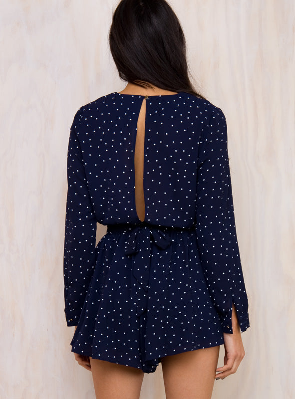 Wholesome 7 Polka Dot Playsuit Navy/White