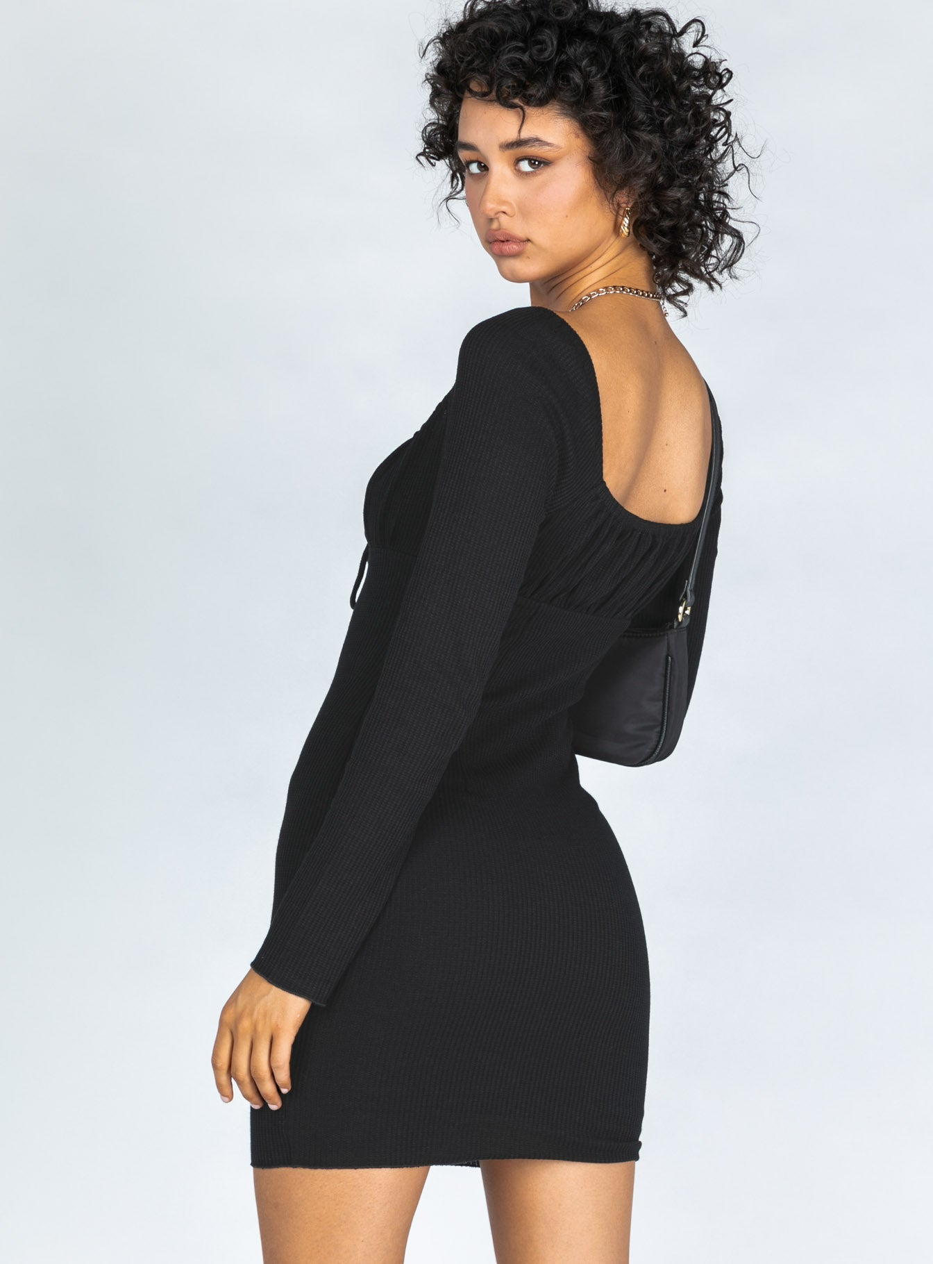 Slow Dancing Long Sleeve Mini Dress Black