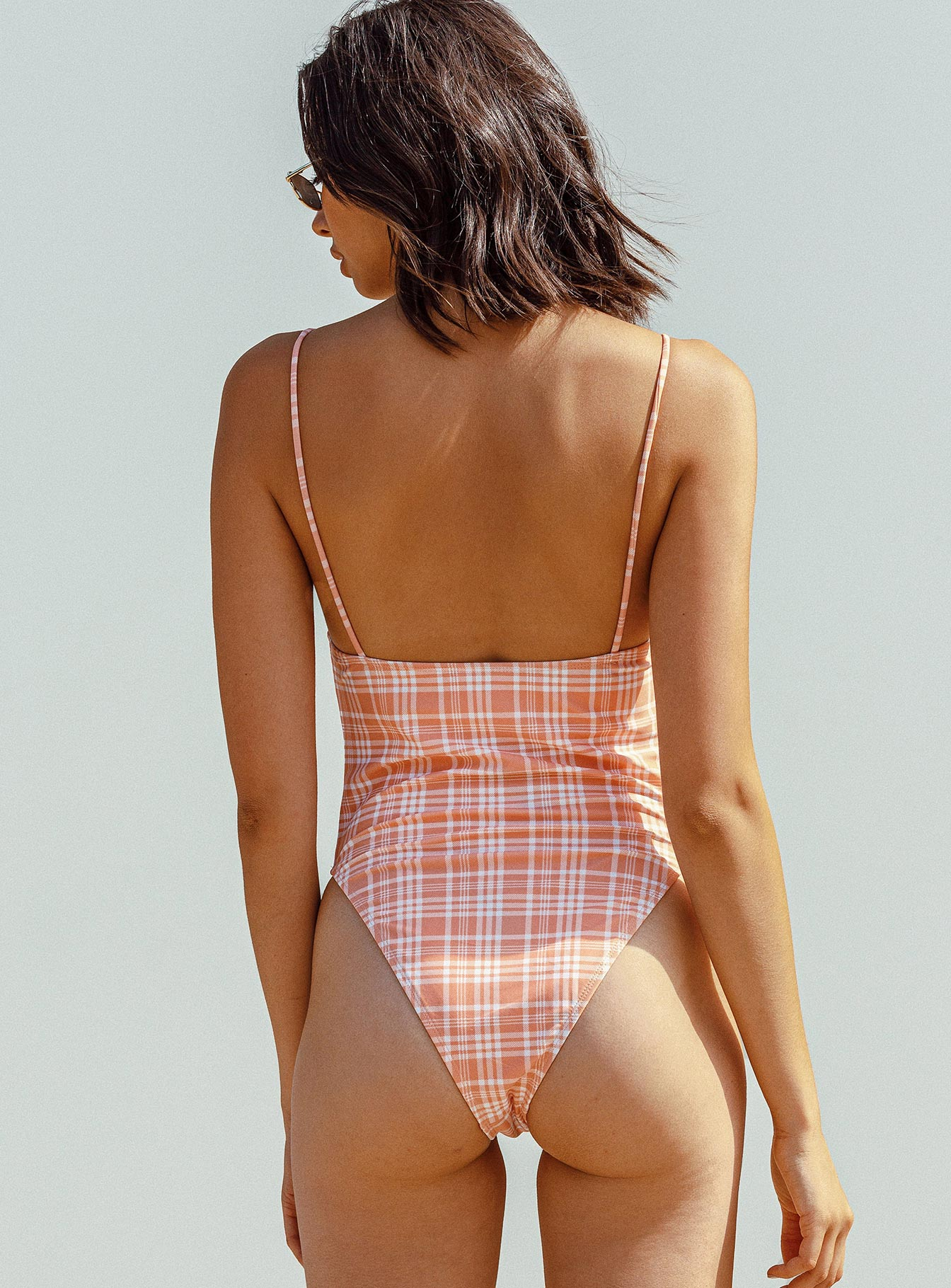 Motel Dolty Swimsuit Peach Picnic Check