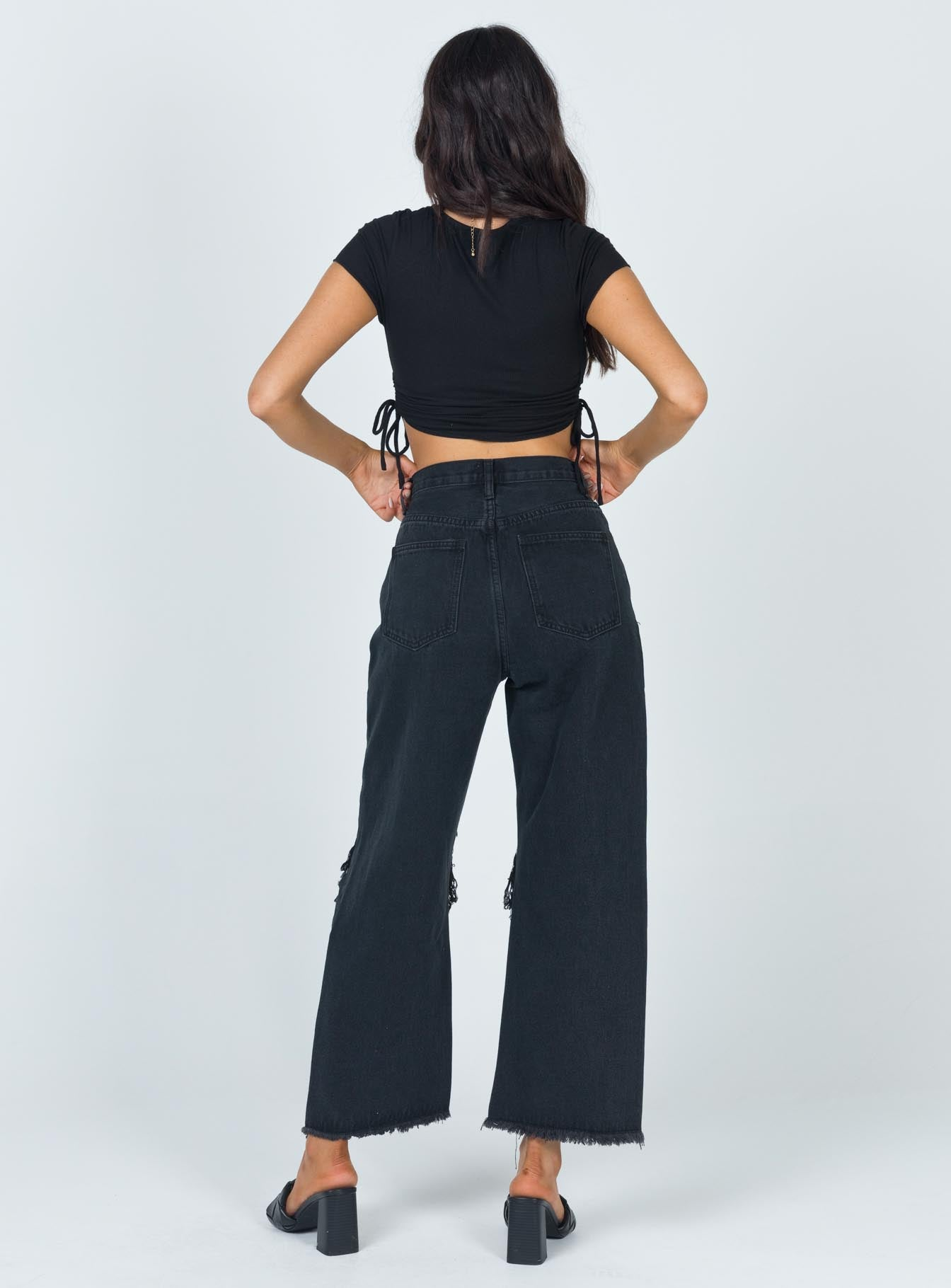 Holly Asymmetric Straight Leg Jean Knee Rips Black Denim