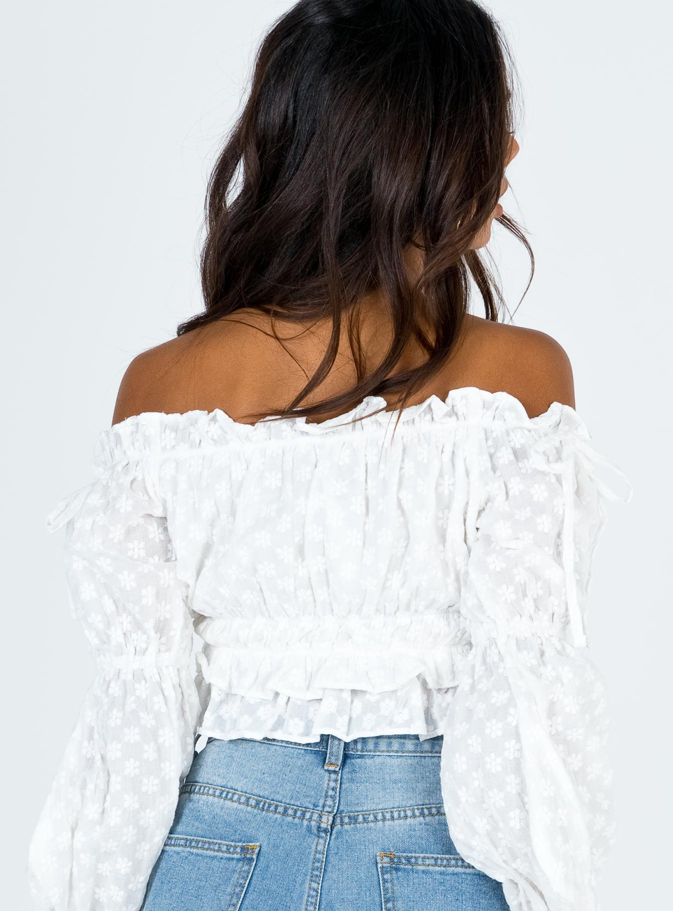 Meet Me In Capri Off The Shoulder Top White