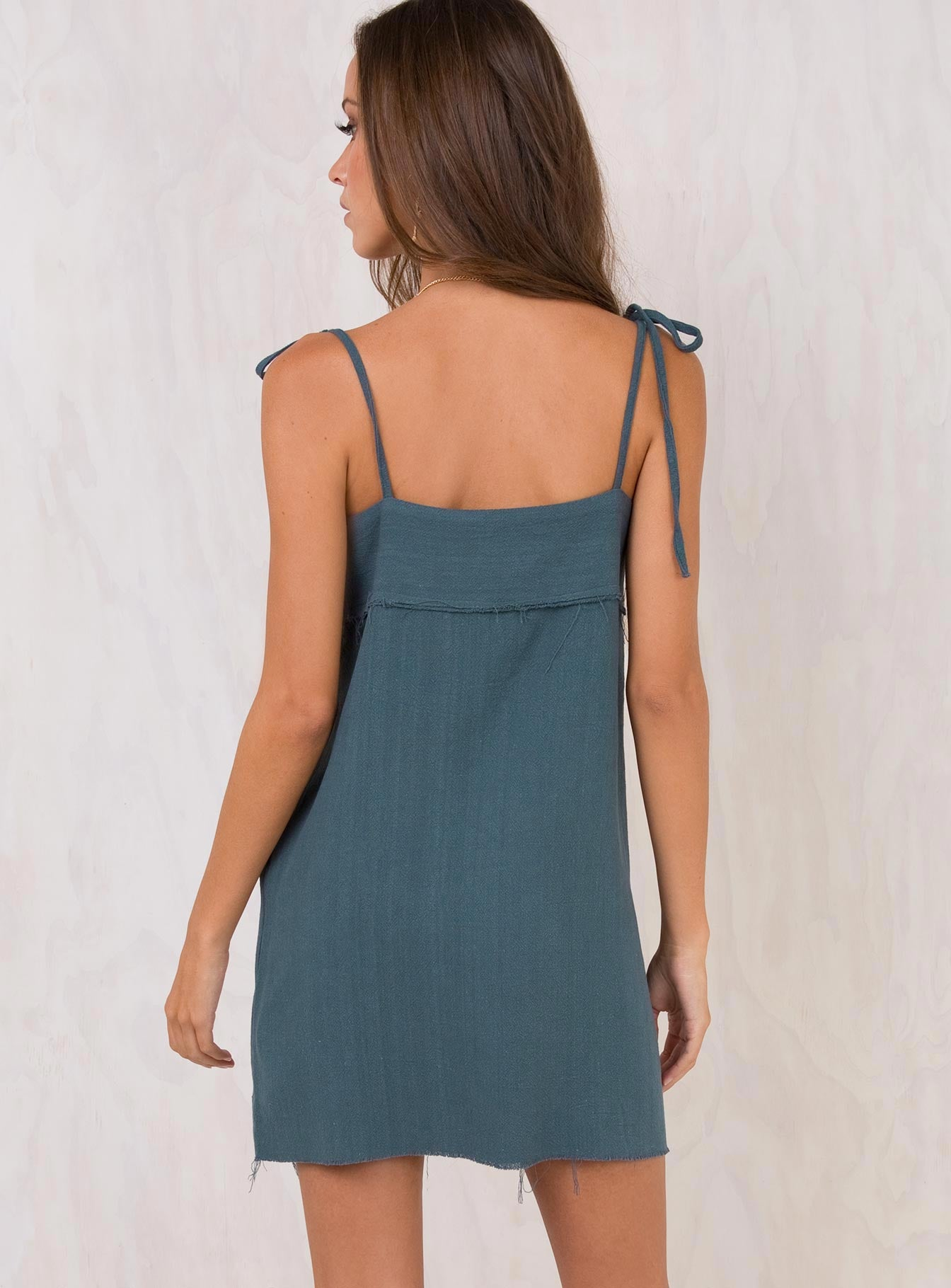 The Vale Tie Shoulder Dress Dark Teal