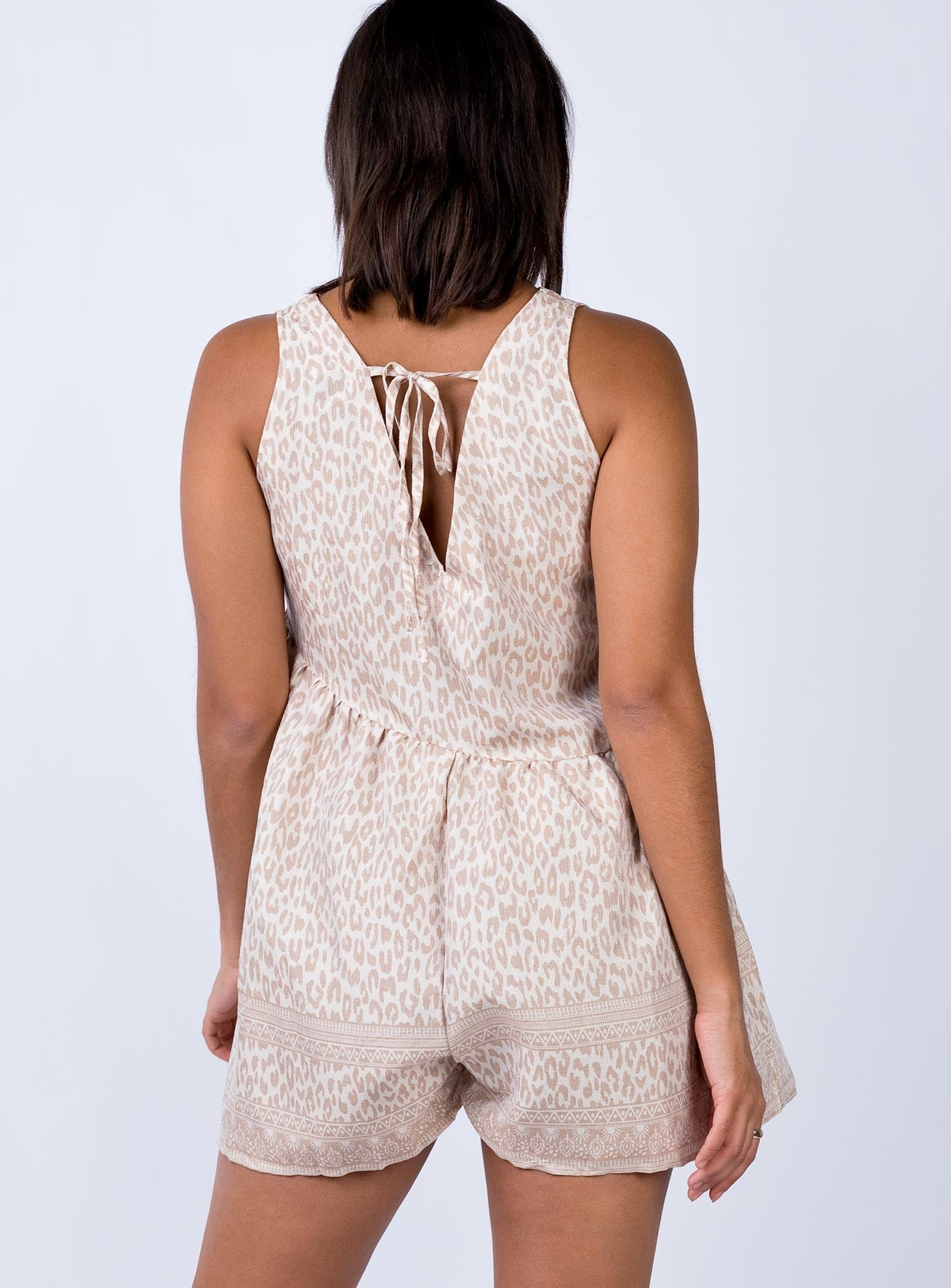 The Collect Playsuit Beige Print