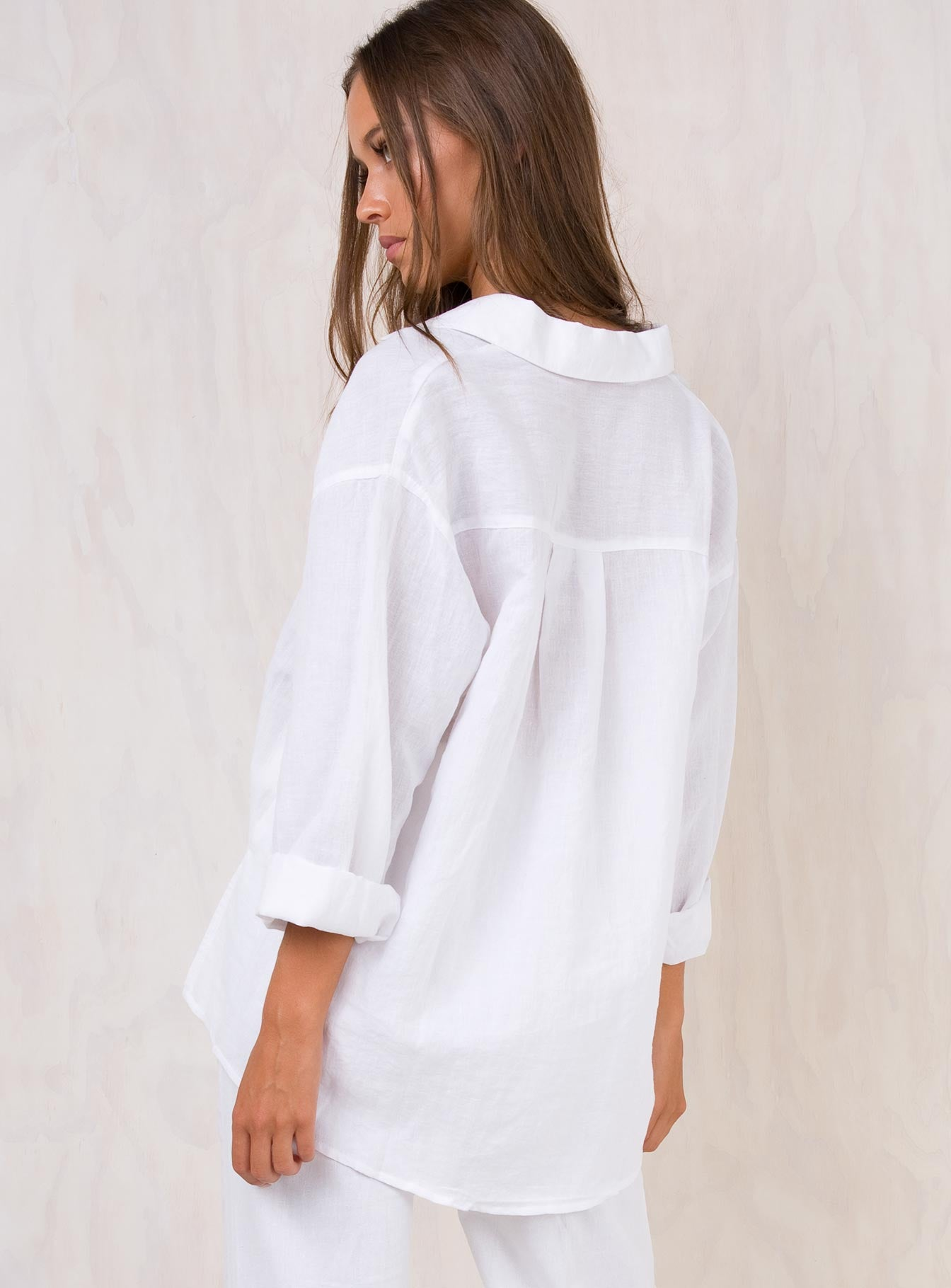 Elle Linen Shirt White