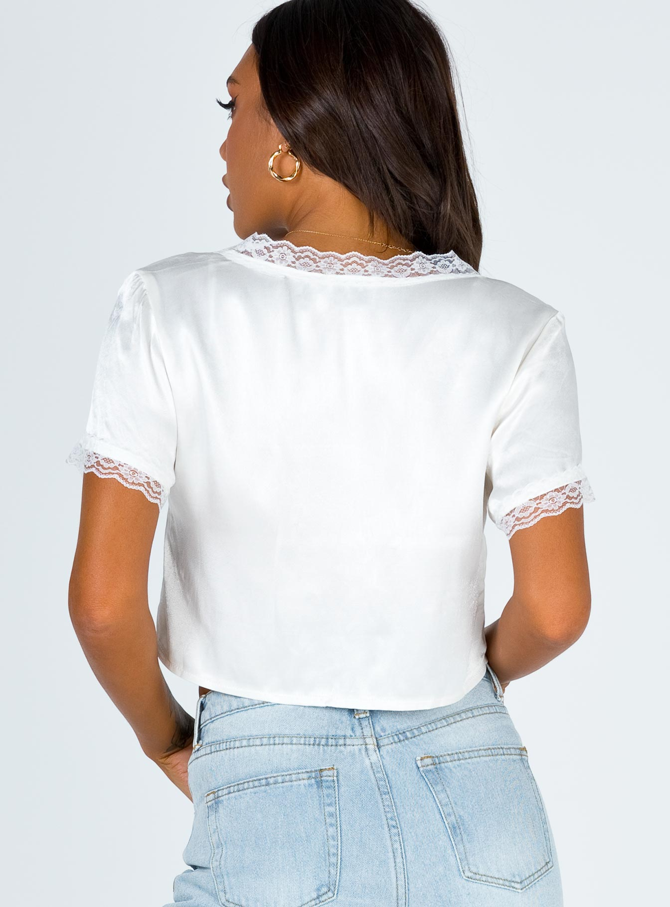 Vintage Tie Up Top White