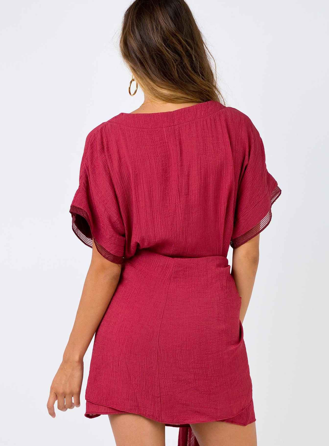 Shimmers Wrap Dress Burgundy