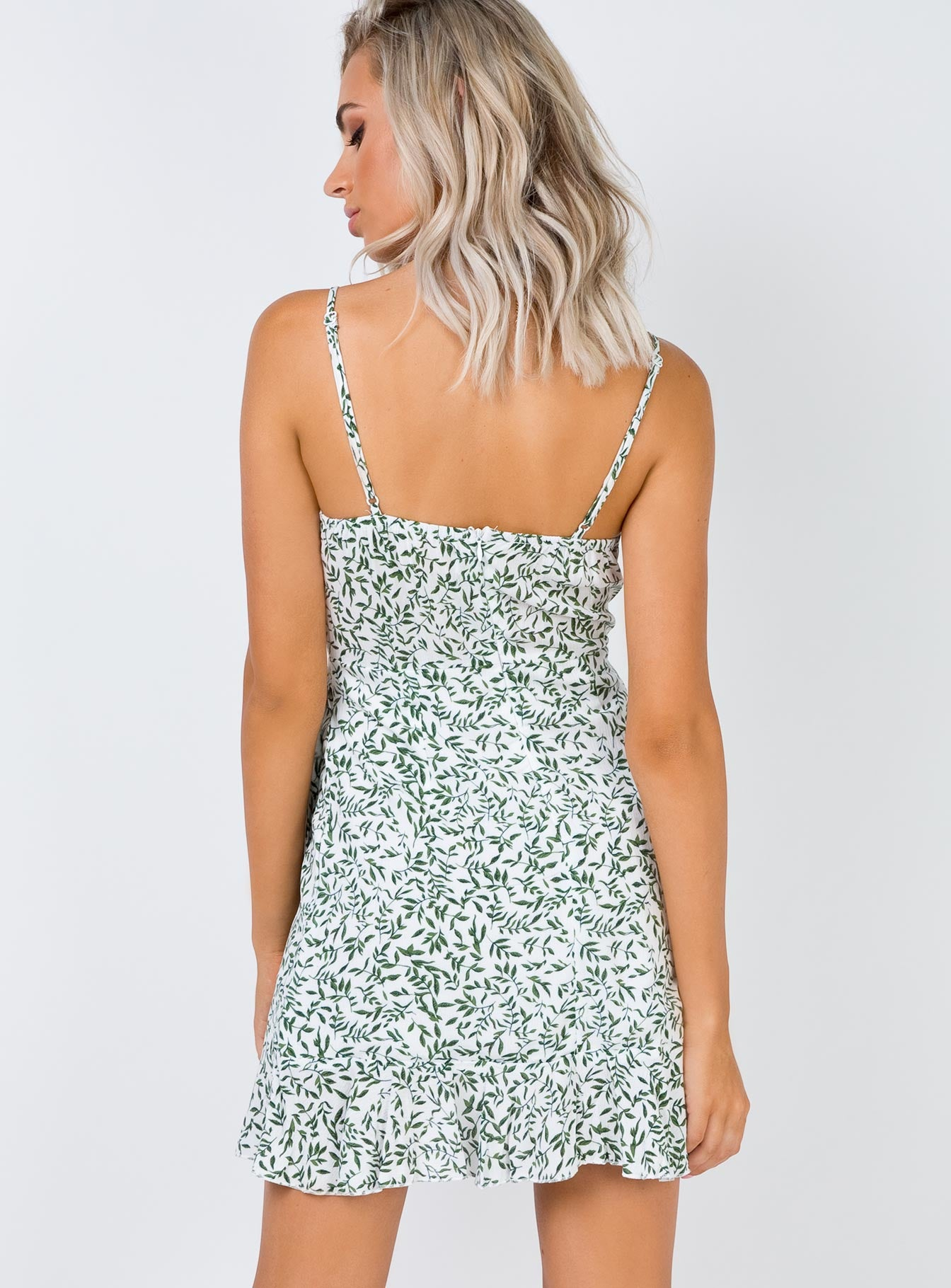 Olive Garden Mini Dress White/Green