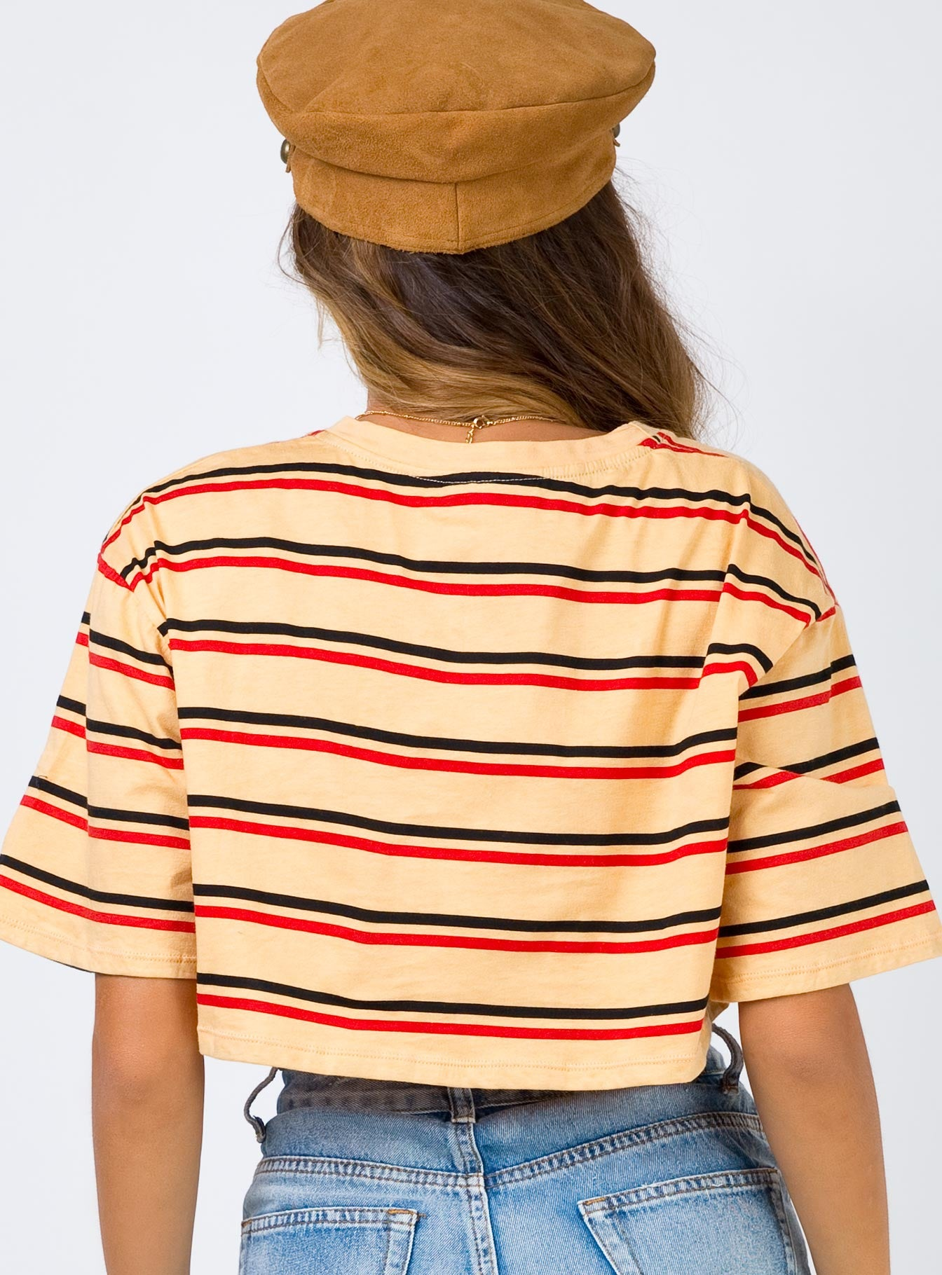 Motel Super Crop Tee 70's Stripe Mustard Horizontal