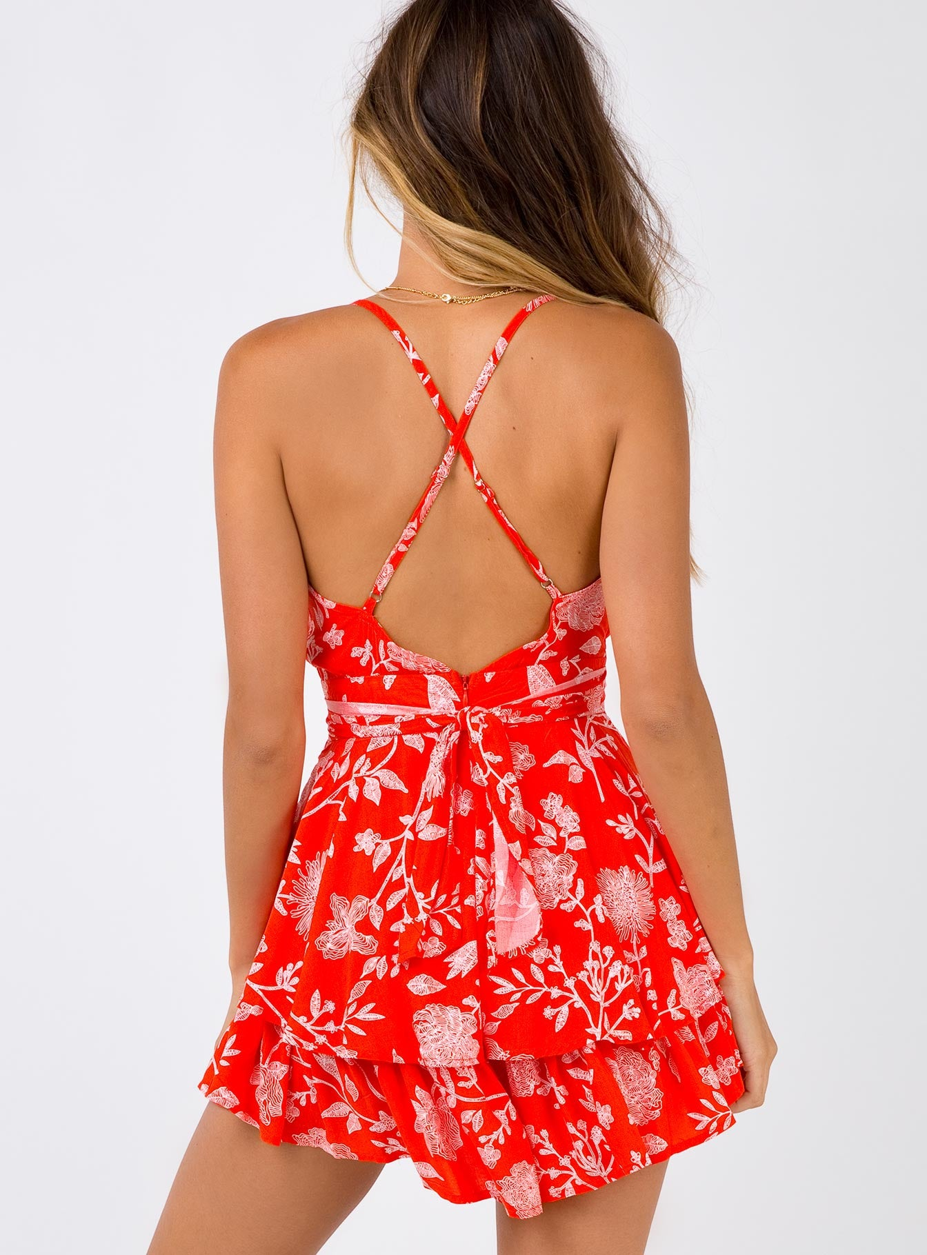 Superficial Rose Playsuit Red