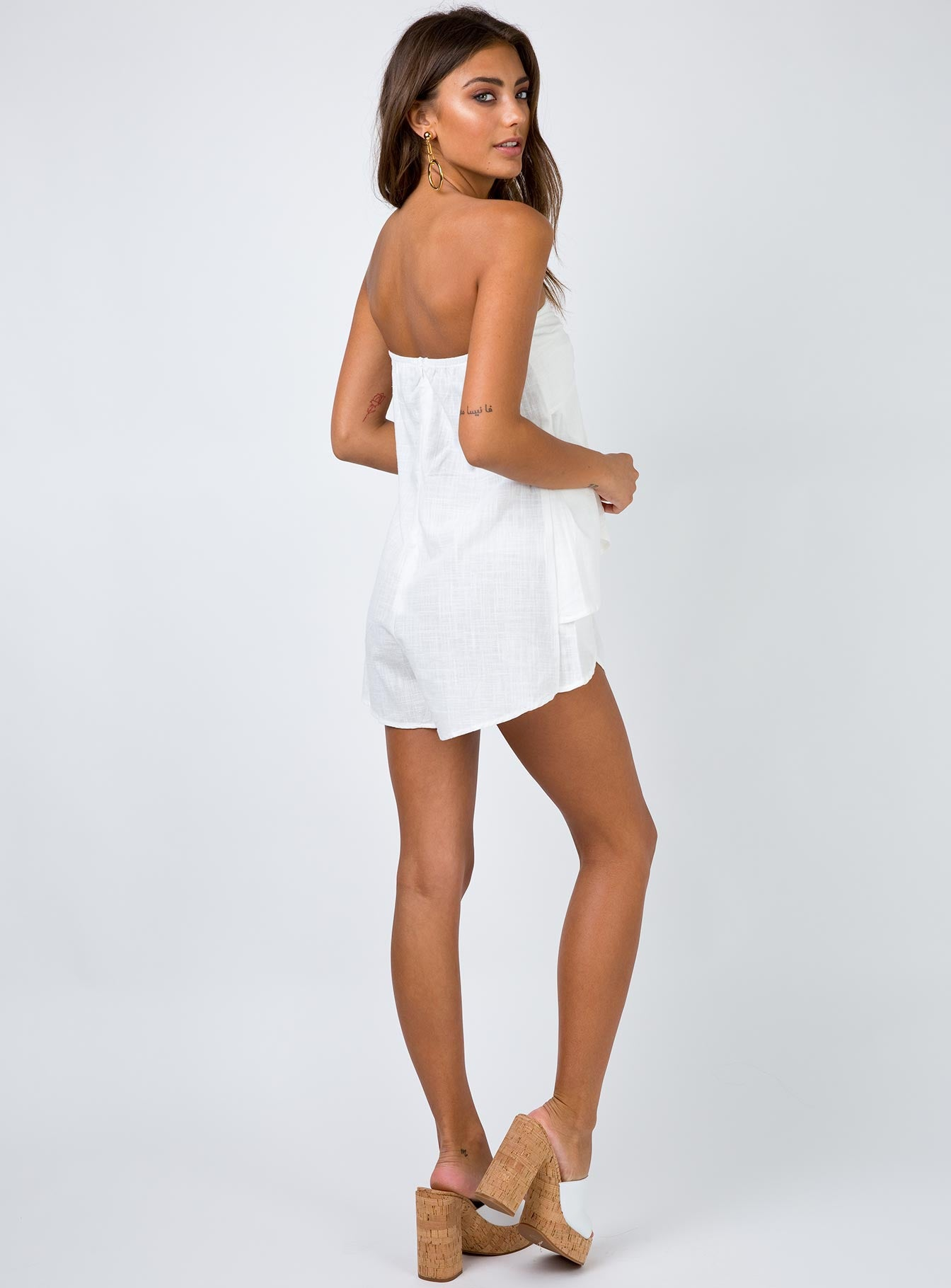 Mabel Mae Strapless Playsuit White