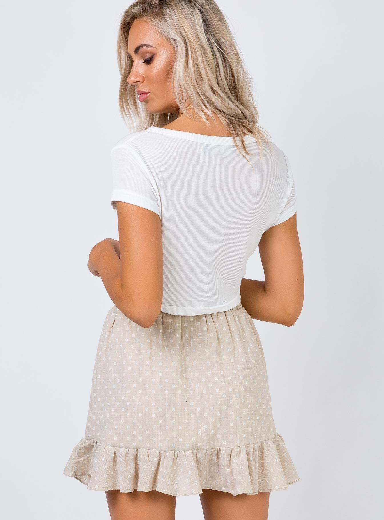 Secret Shadow Mini Skirt Beige