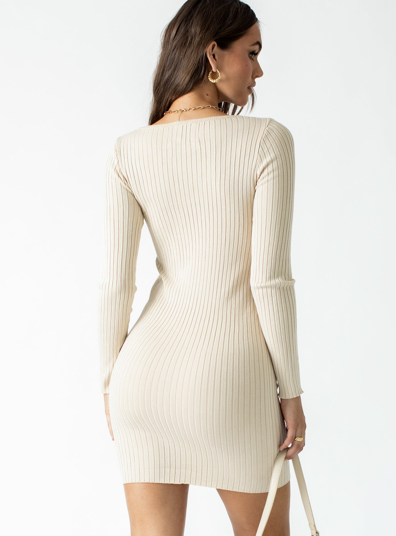 Zaynah Long Sleeve Mini Dress Beige