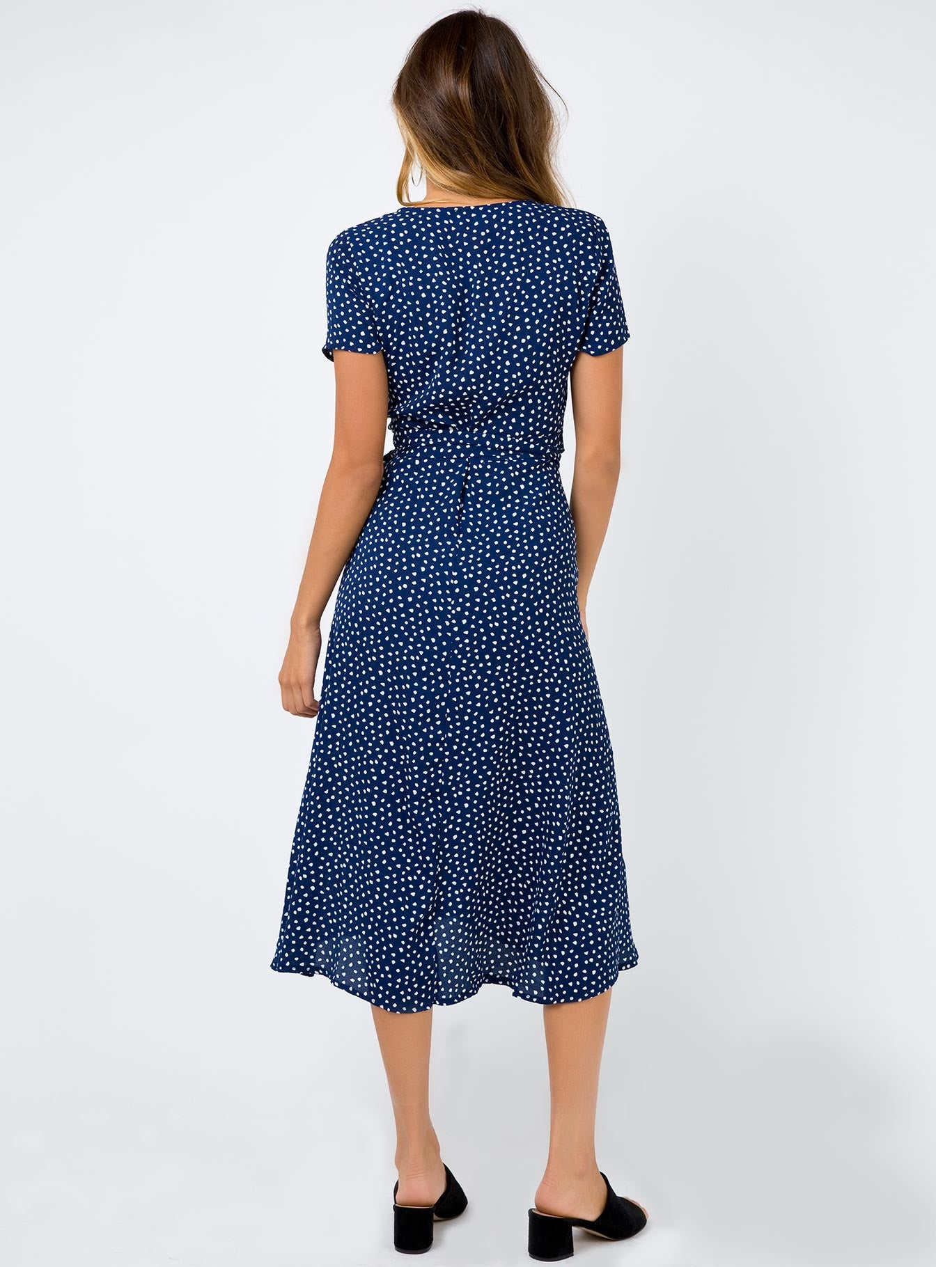 Diamond Wrap Midi Dress Navy