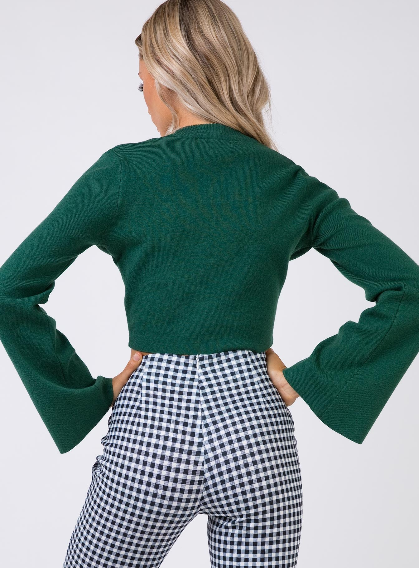 Side By Side Long Sleeve Crop Knit Green